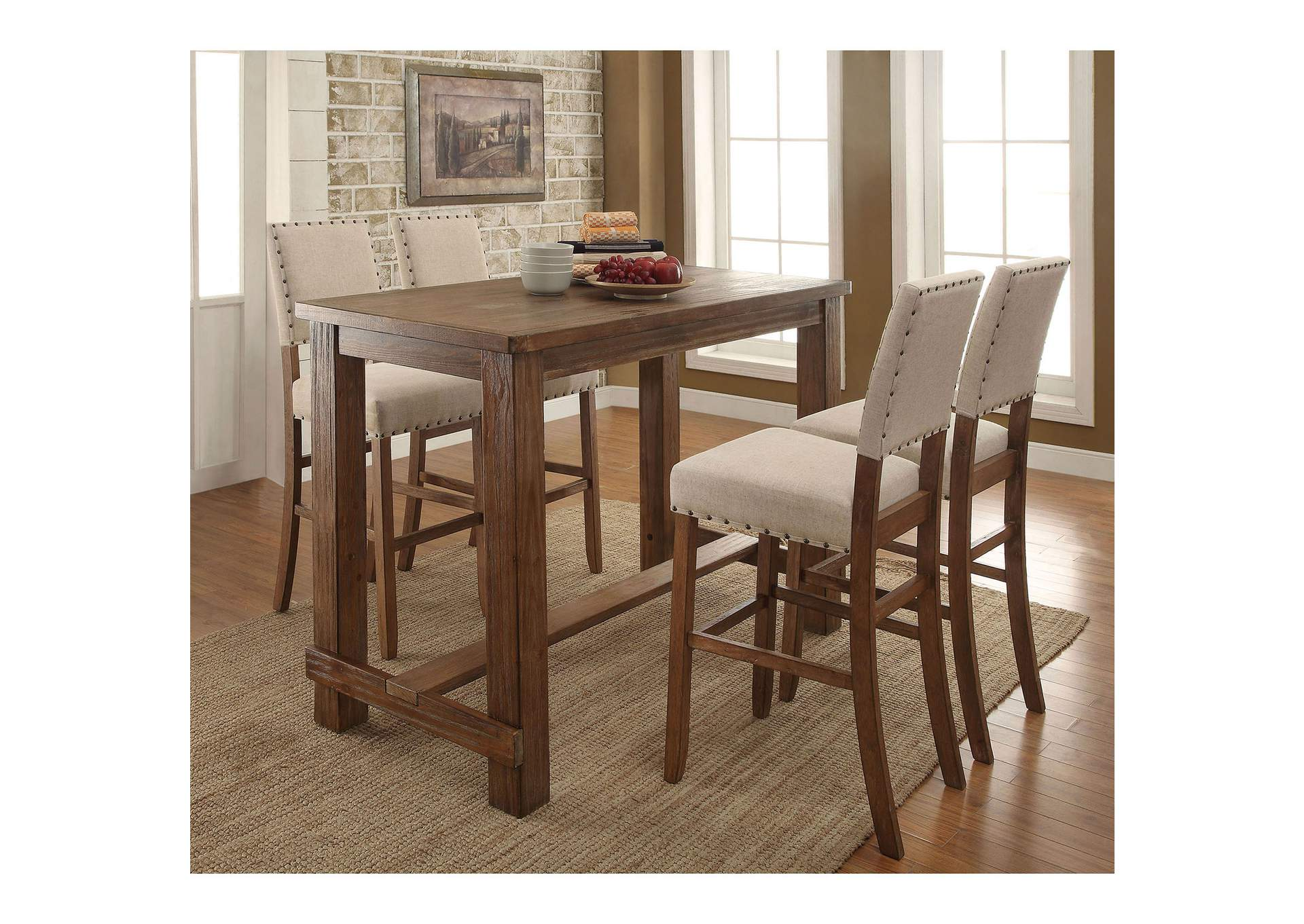 Sania Rustic Oak Counter Table w/4 Counter Chair,Furniture of America