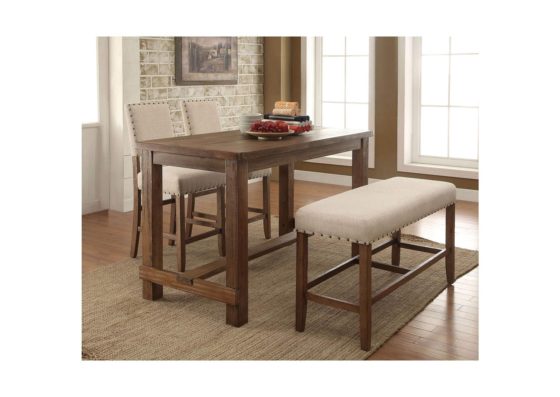 Sania Rustic Oak Counter Table w/Bench and 2 Counter Chair,Furniture of America