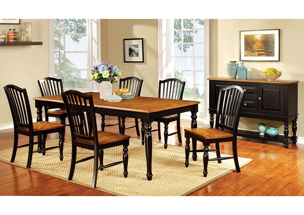 Mayville Black/Antique Oak Extension Dining Table w/6 Side Chair,Furniture of America