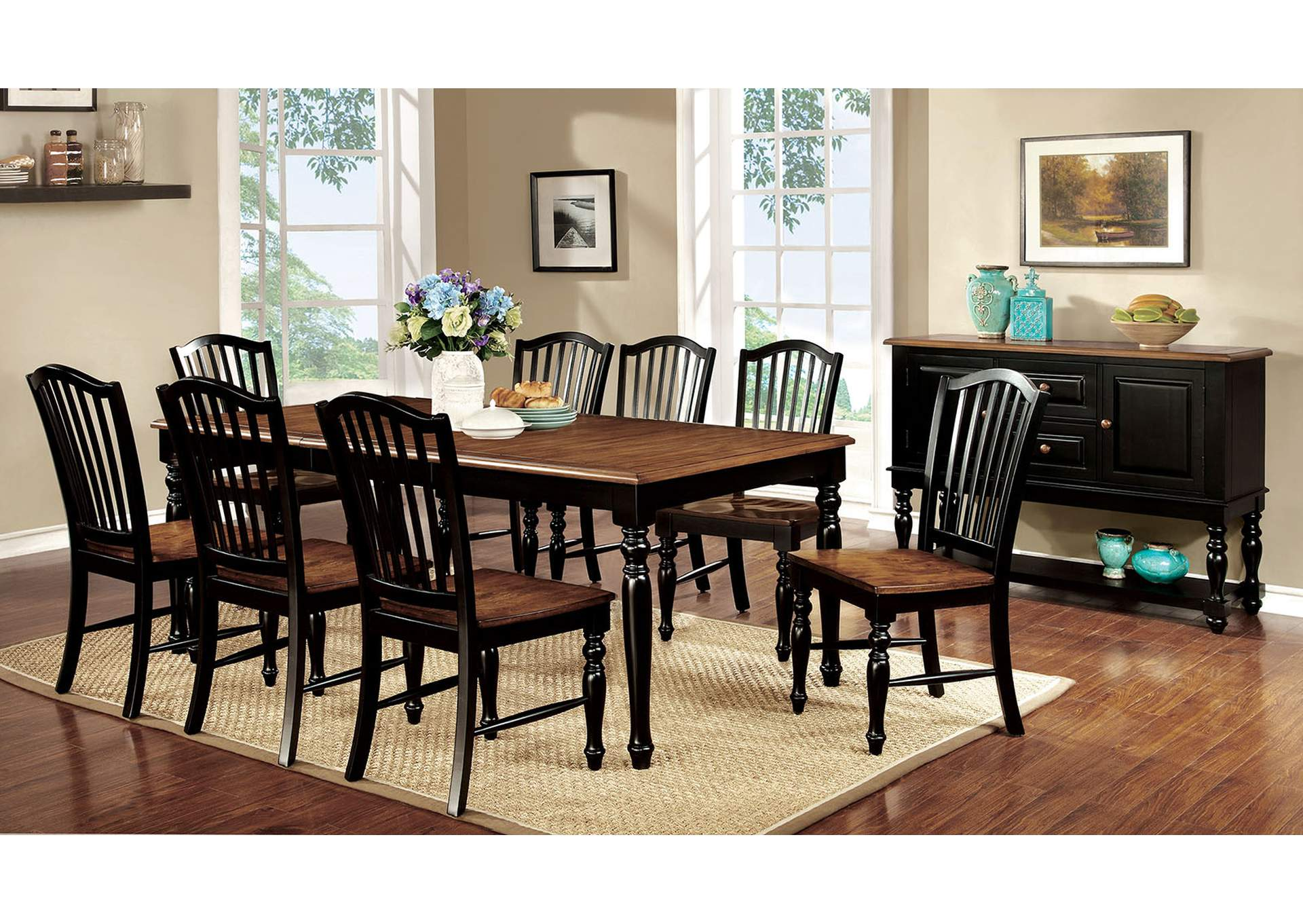 Mayville Black/Antique Oak Extension Dining Table w/8 Side Chair,Furniture of America