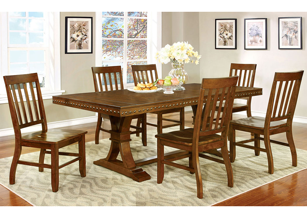 Foster I Dark Oak Extension Dining Table w/6 Side Chair,Furniture of America