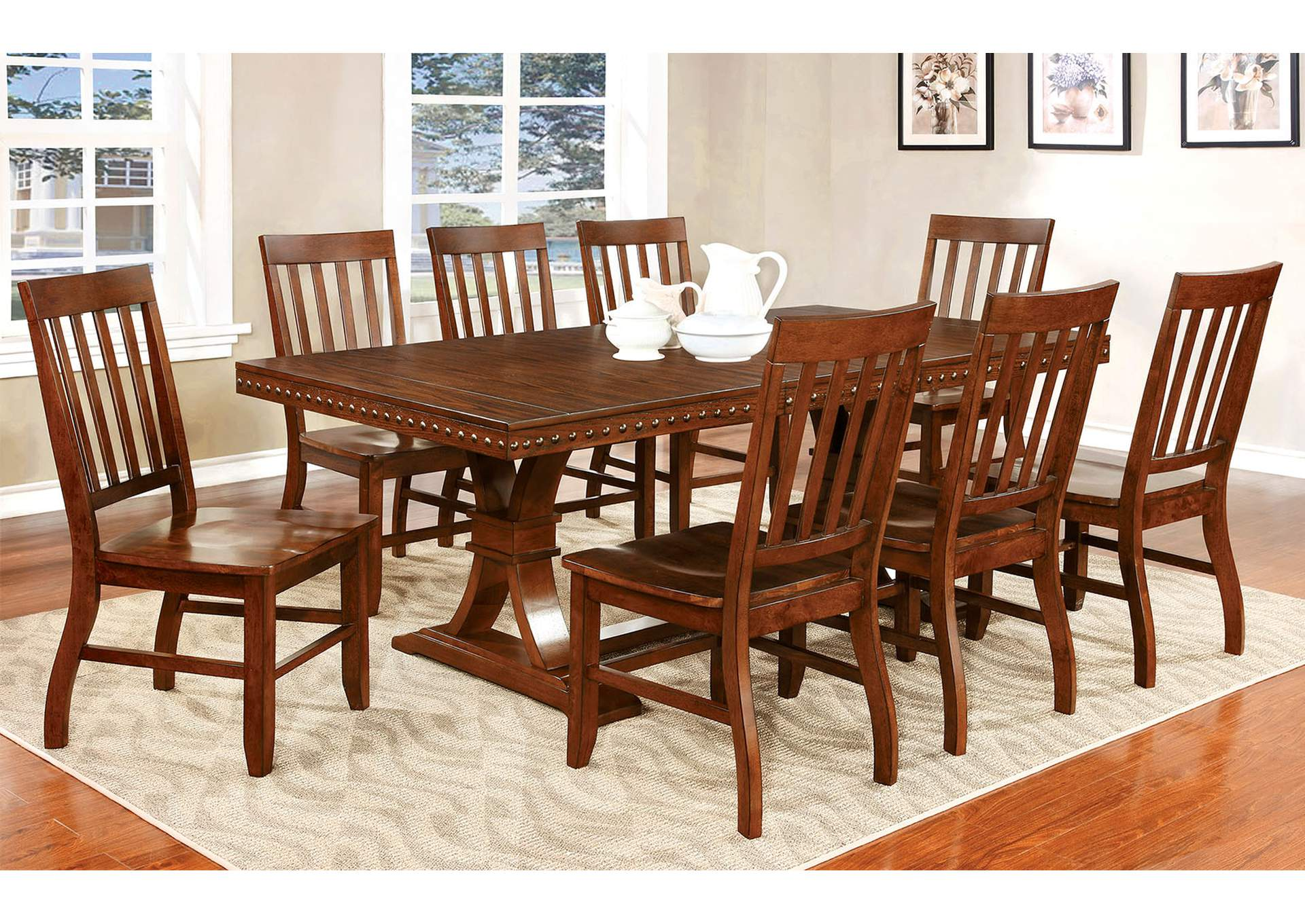 Foster I Dark Oak Extension Dining Table w/8 Side Chair,Furniture of America