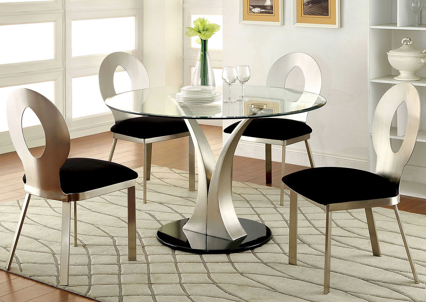Valo Silver/Black Dining Table w/4 Side Chair,Furniture of America