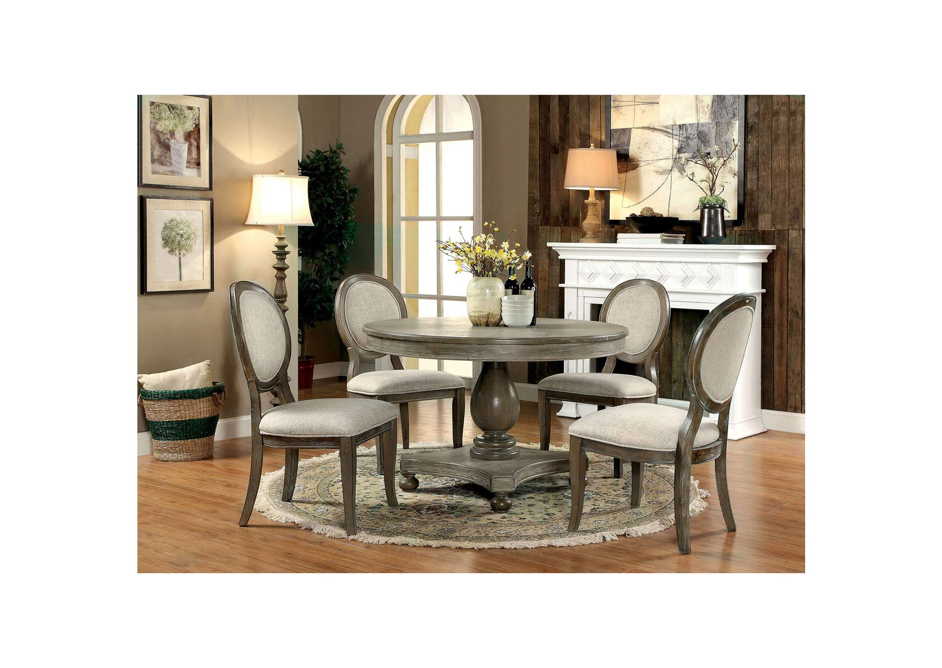 Kathryn Rustic Oak Dining Table w/4 Side Chair,Furniture of America