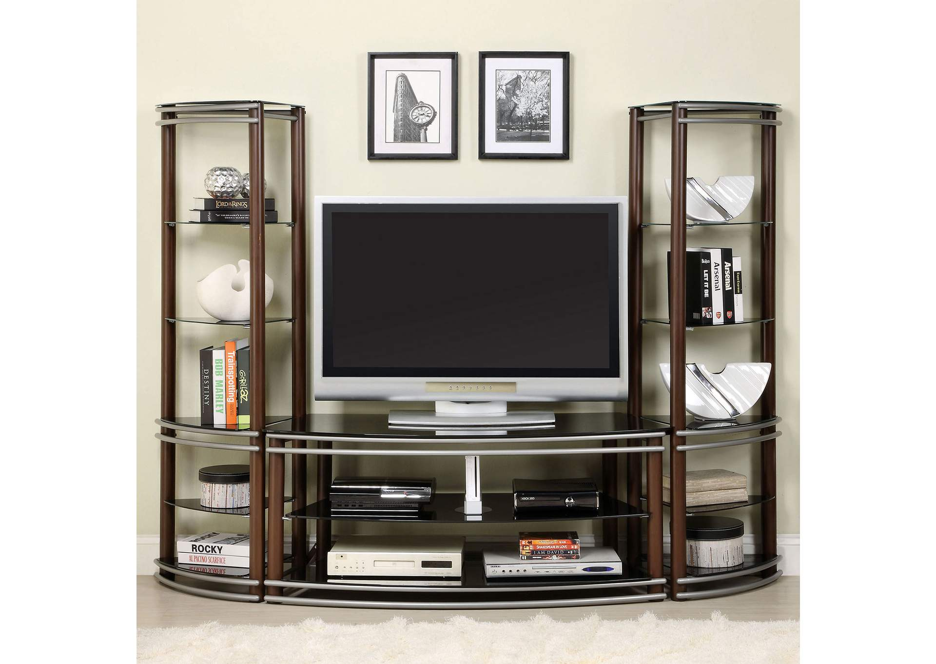 Silver Creek Brown & Silver TV Console w/2 Pier Shelves,Furniture of America