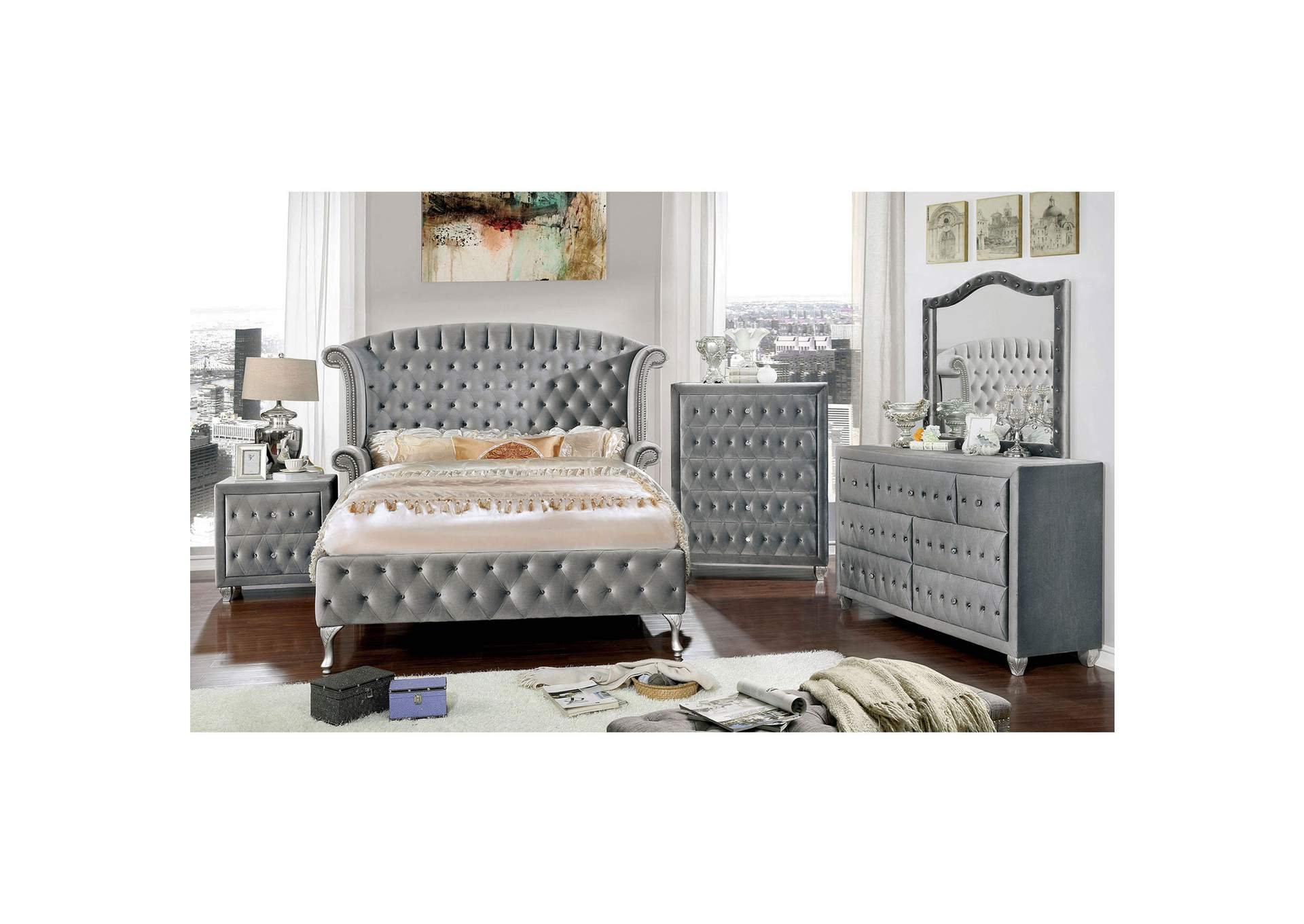 Alzir Gray Upholstered Dresser and Mirror,Furniture of America