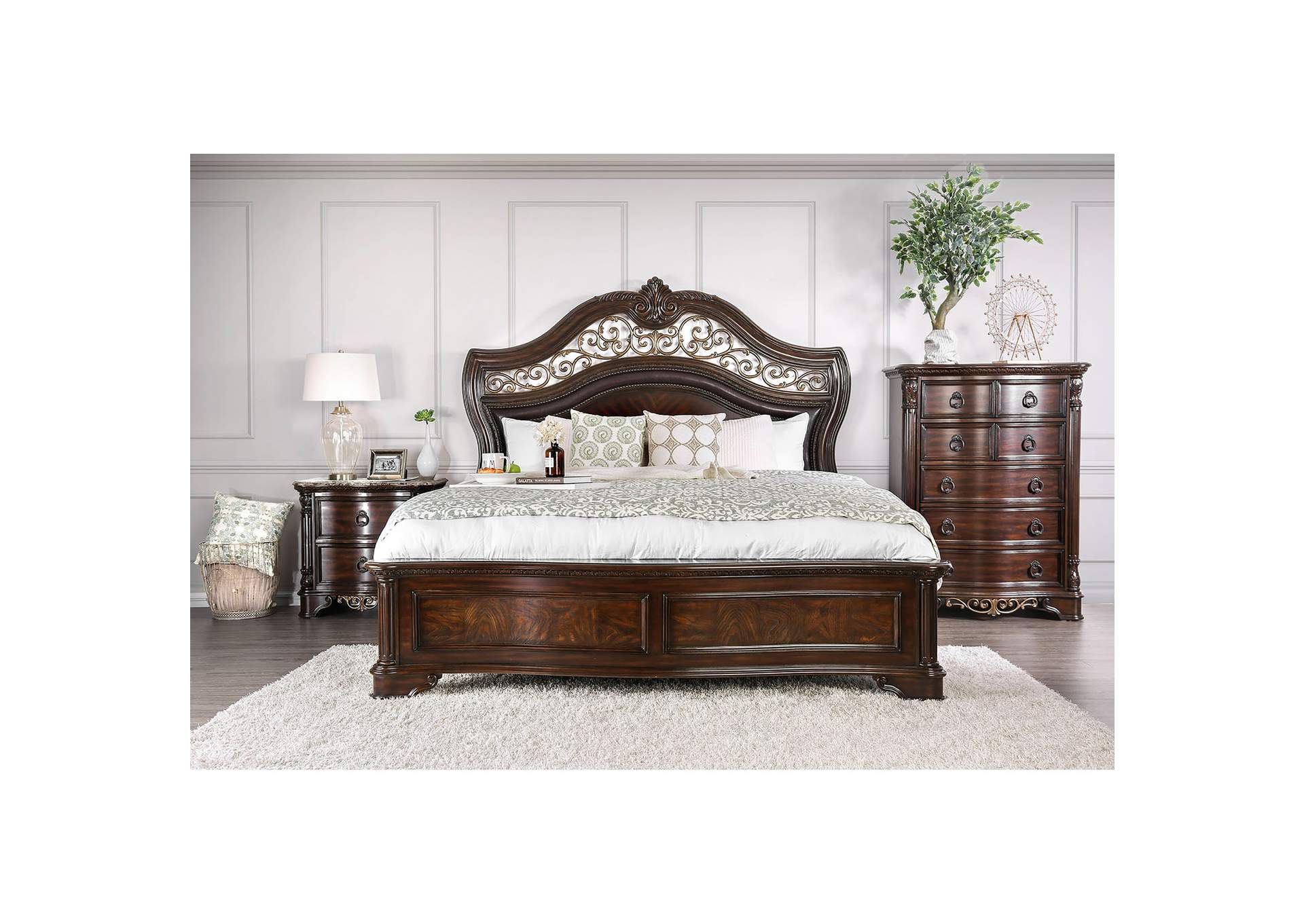 Menodora Brown Queen Platform Bed w/Dresser and Mirror,Furniture of America