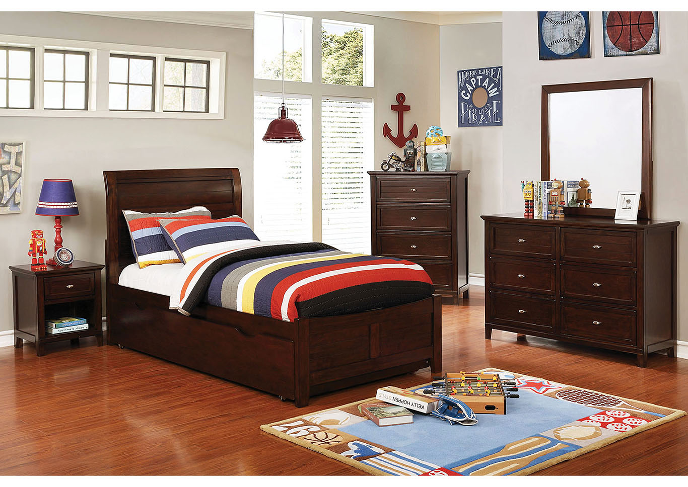 Brogan Brown Twin Sleigh Bed w/Trundle,Furniture of America