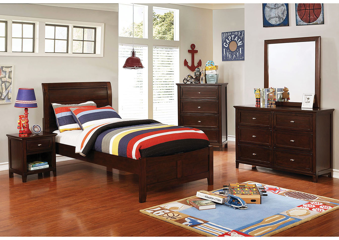 Brogan Brown Full Sleigh Bed w/Dresser and Mirror,Furniture of America