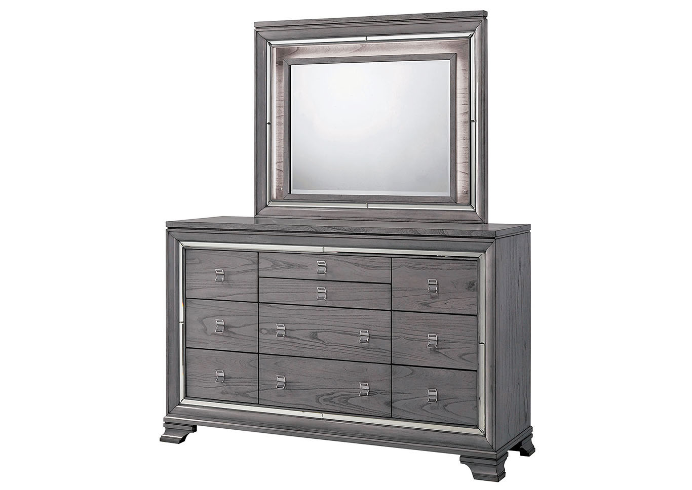 Alanis Light Gray Mirror Trim Dresser And Mirror Best Buy Furniture And Mattress