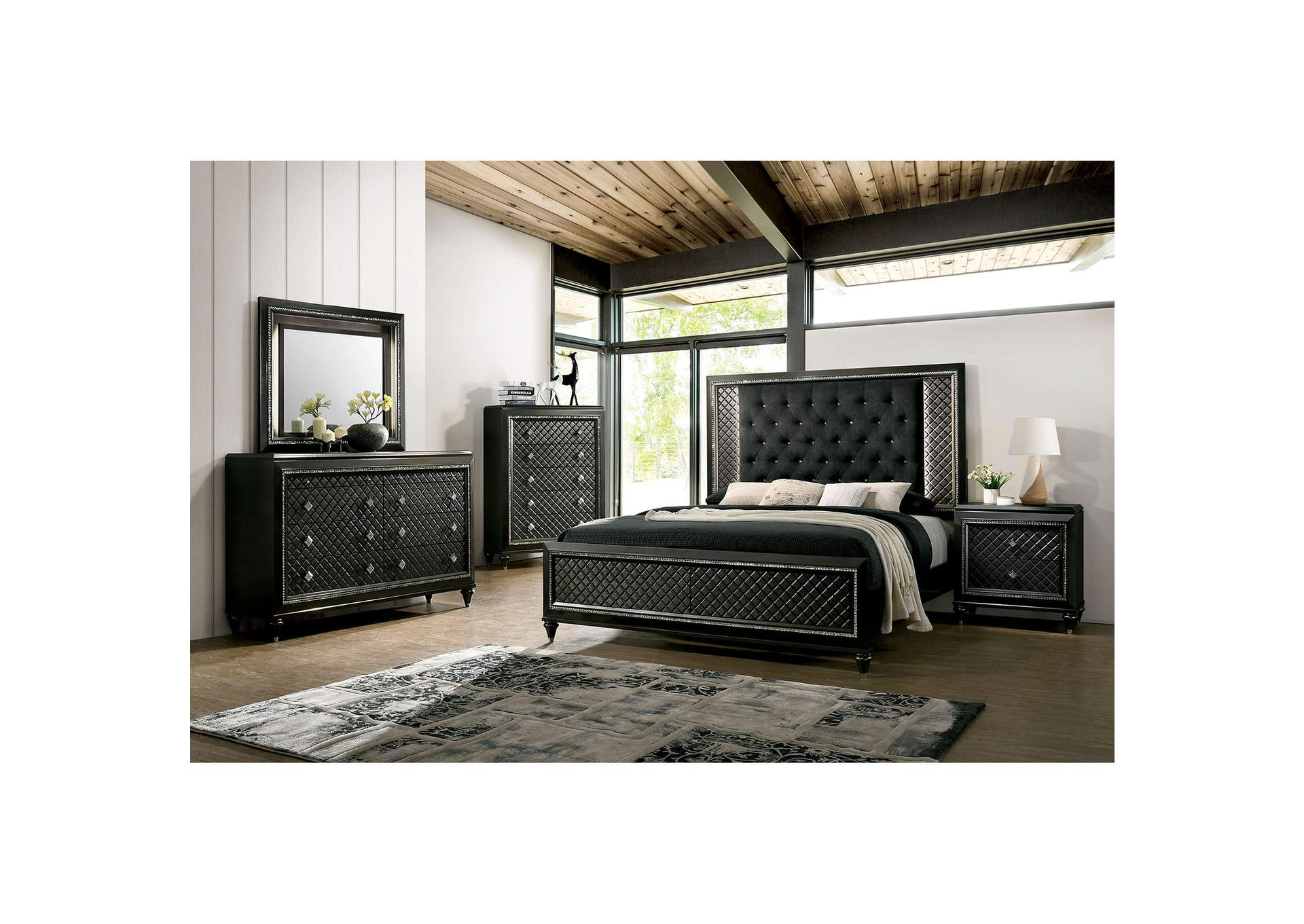 Demetria Black/Metallic Gray LED California King Panel Bed w/Dresser and Mirror,Furniture of America