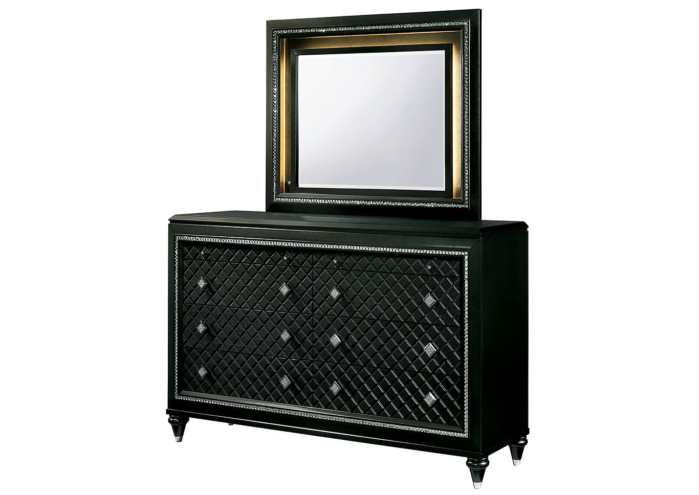 Demetria Black/Metallic Gray LED Eastern King Storage Bed w/Dresser and Mirror,Furniture of America