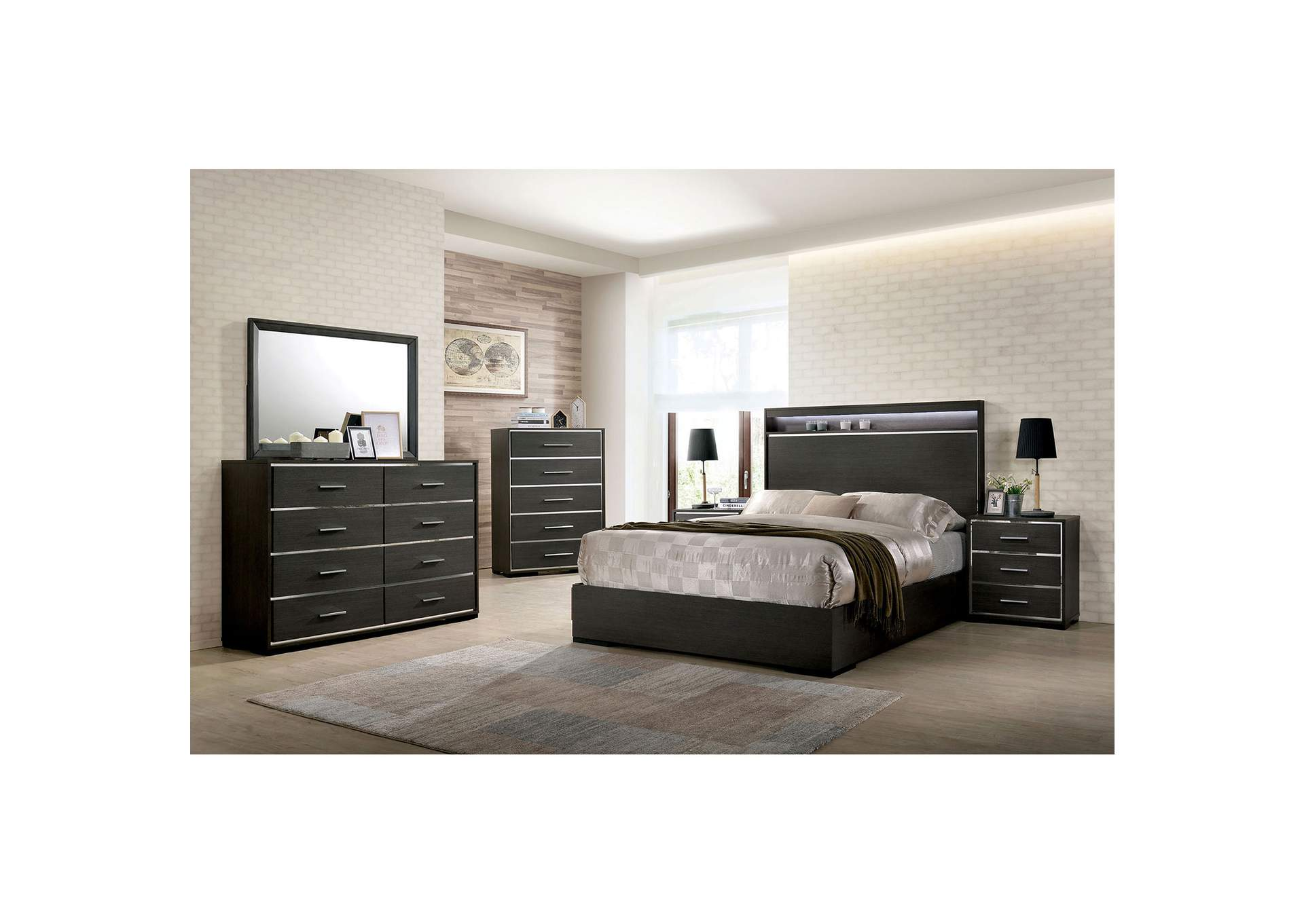Camryn Warm Gray LED/Chrome Trim Queen Platform Bed w/Dresser and Mirror,Furniture of America