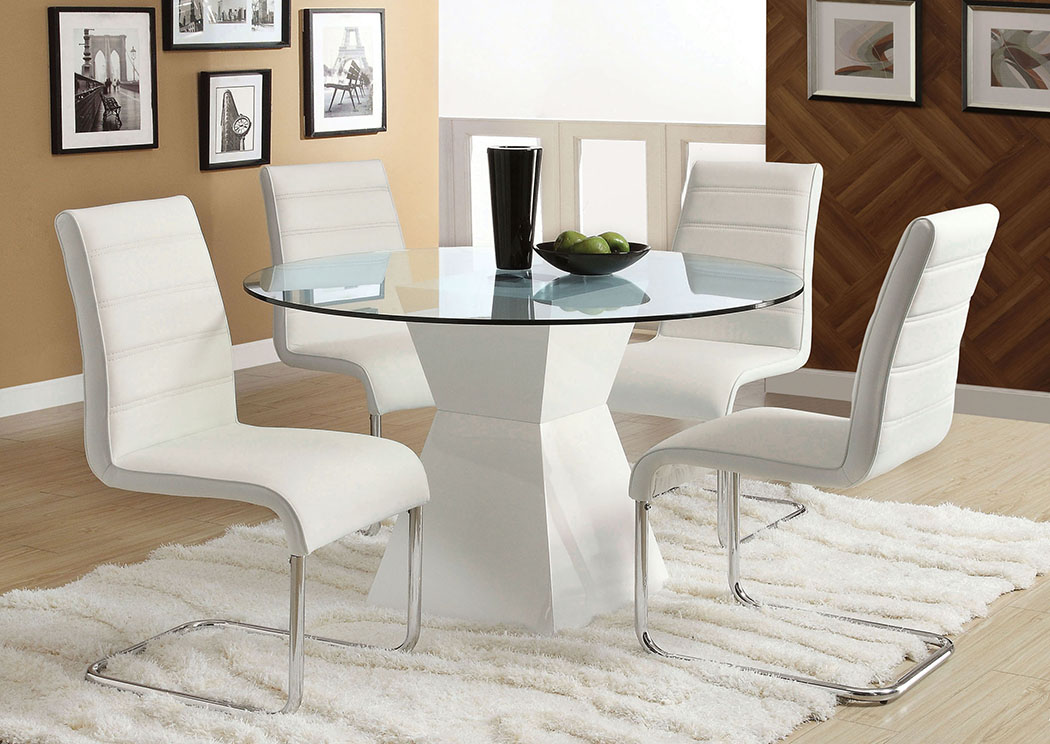 Picture of: Mauna White Dining Table W 4 White Side Chair Flamingo Furniture