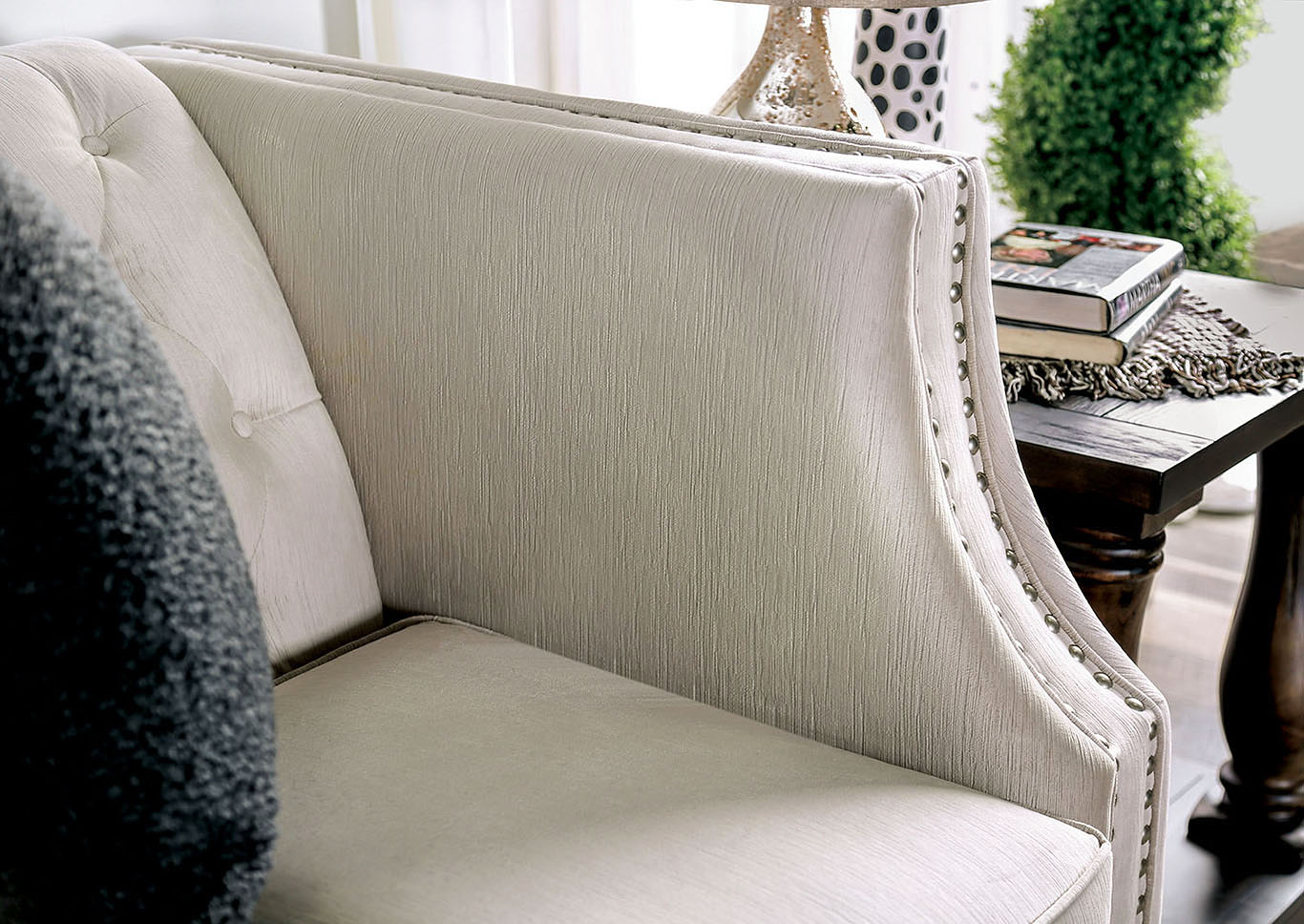 Aniyah Beige Sofa and Loveseat,Furniture of America
