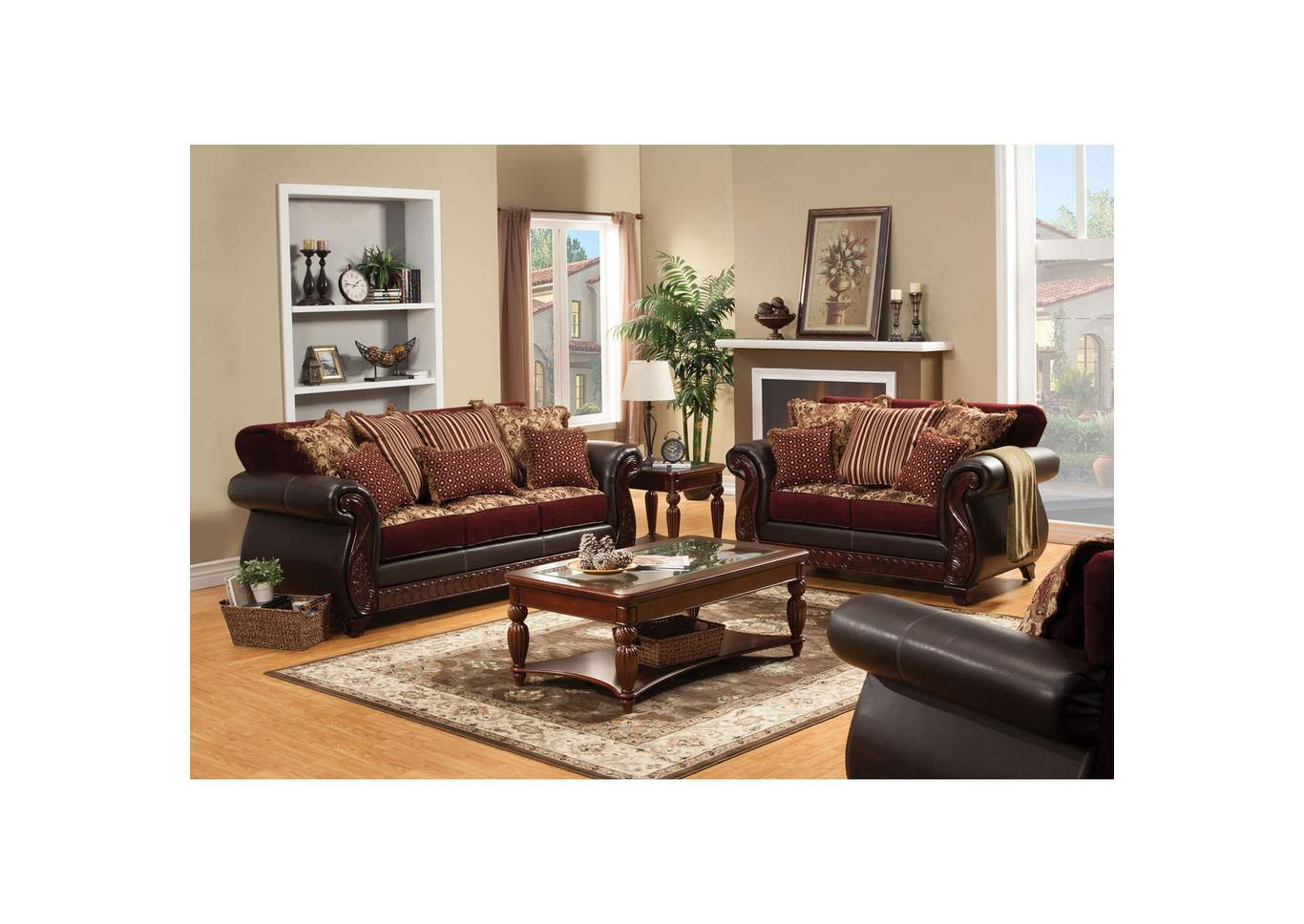 Franklin Burgundy Sofa and Loveseat,Furniture of America
