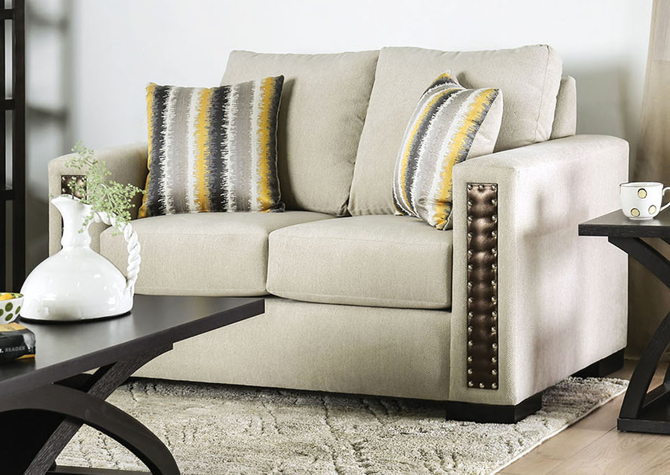 Chubbuck Beige Sofa and Loveseat,Furniture of America