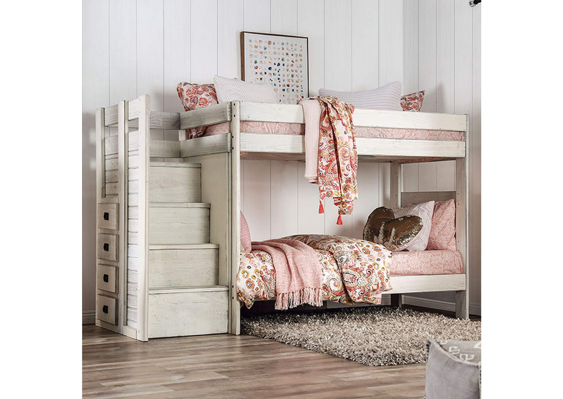 Ampelios White Twin Twin Bunk Bed King S Furniture Warehouse