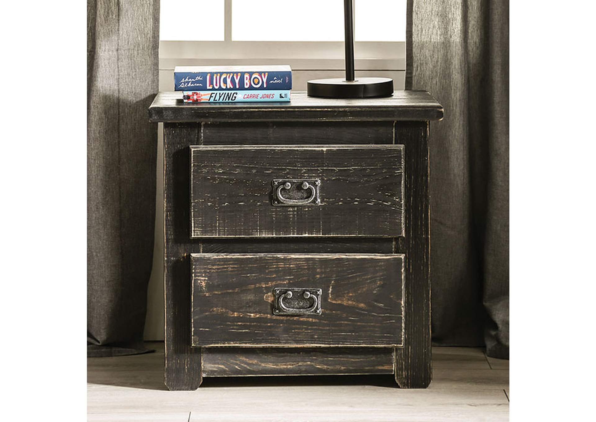 Ampelios Wire-Brushed Black Night Stand,Furniture of America