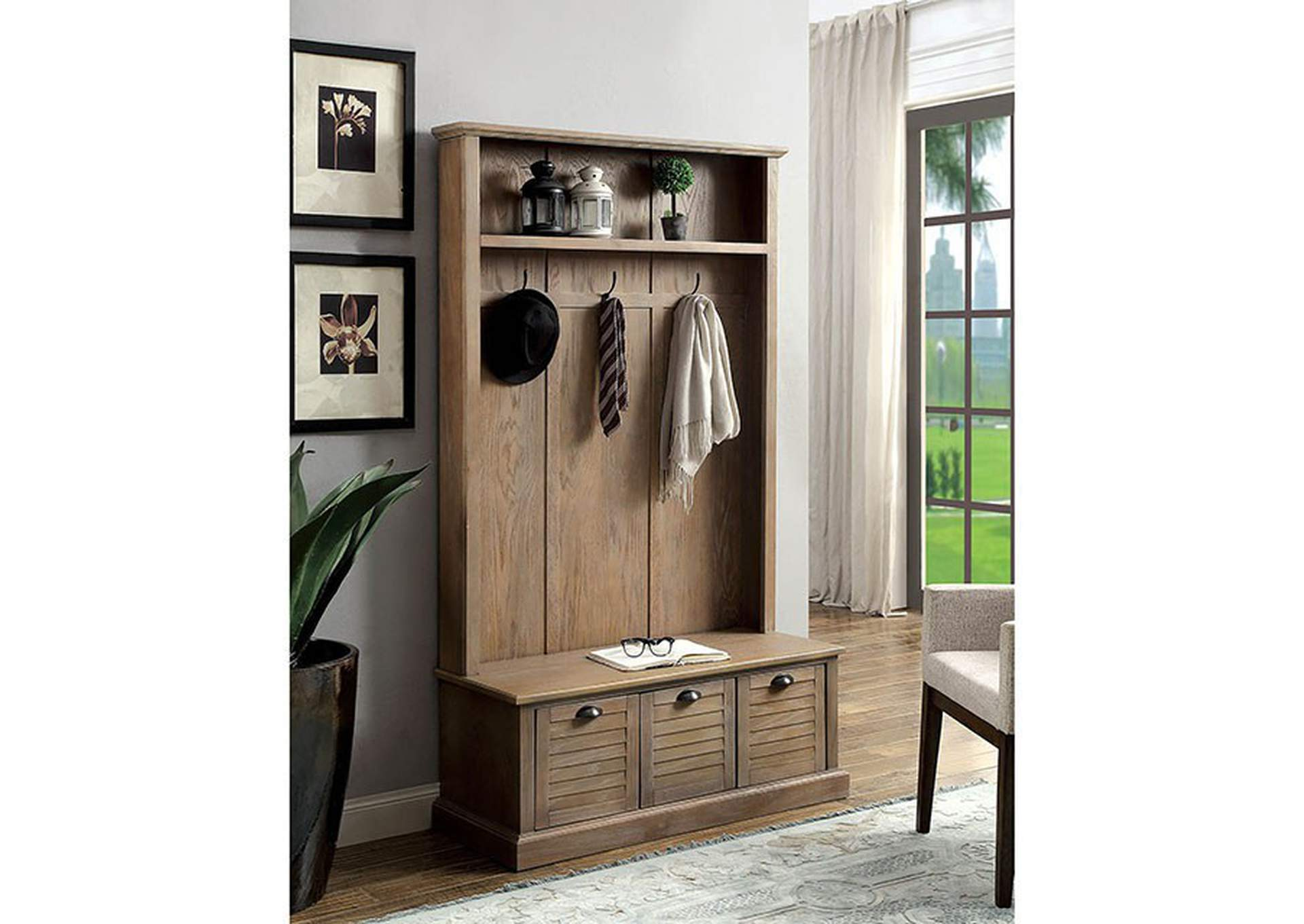 Wineglow Weathered Gray Hallway Cabinet,Furniture of America
