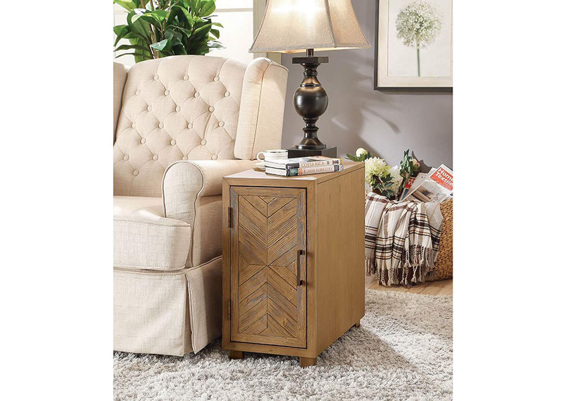 Sage Light Oak Side Table,Furniture of America