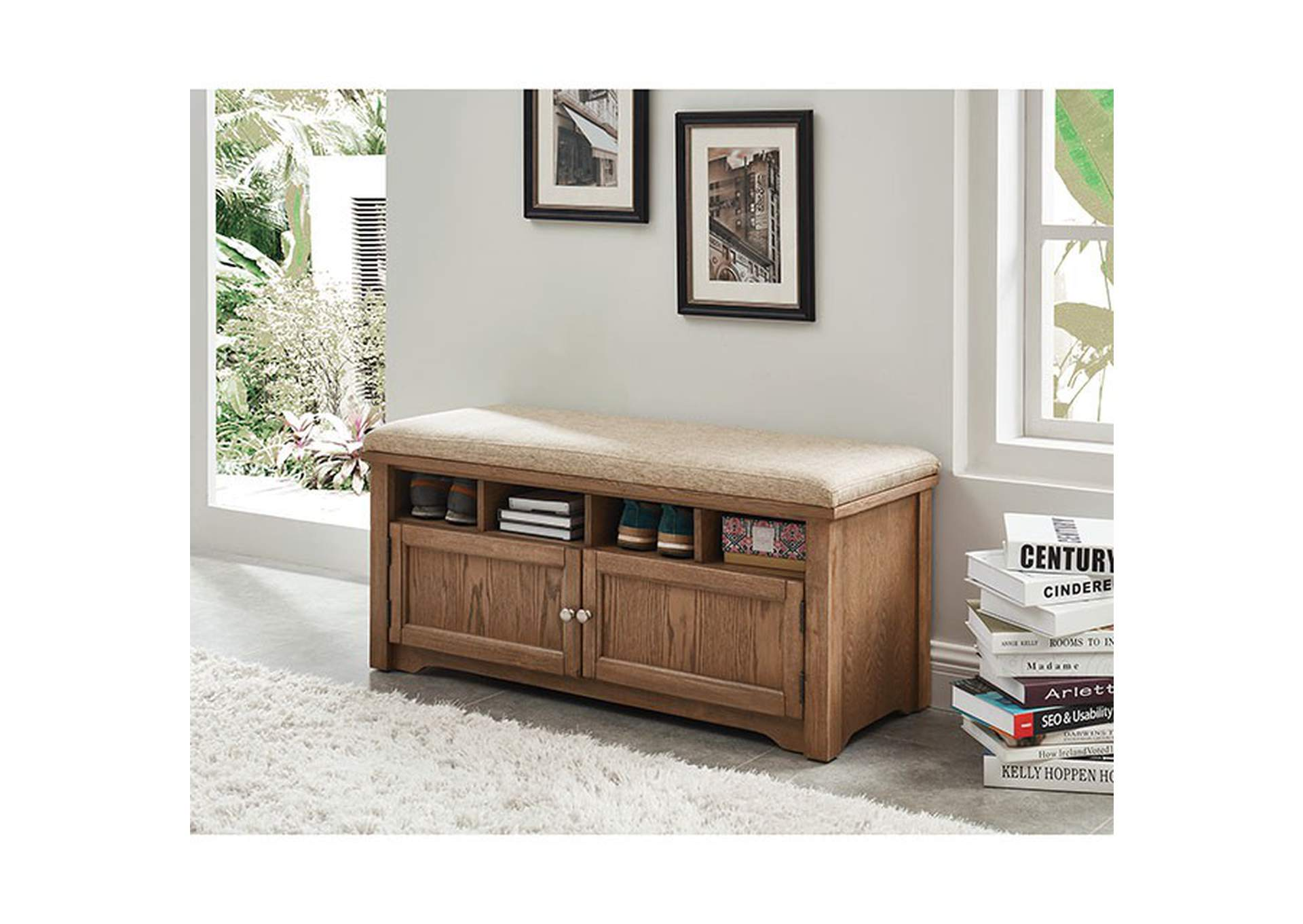 Gwebdolyn Oak Shoe Bench w/Storage,Furniture of America