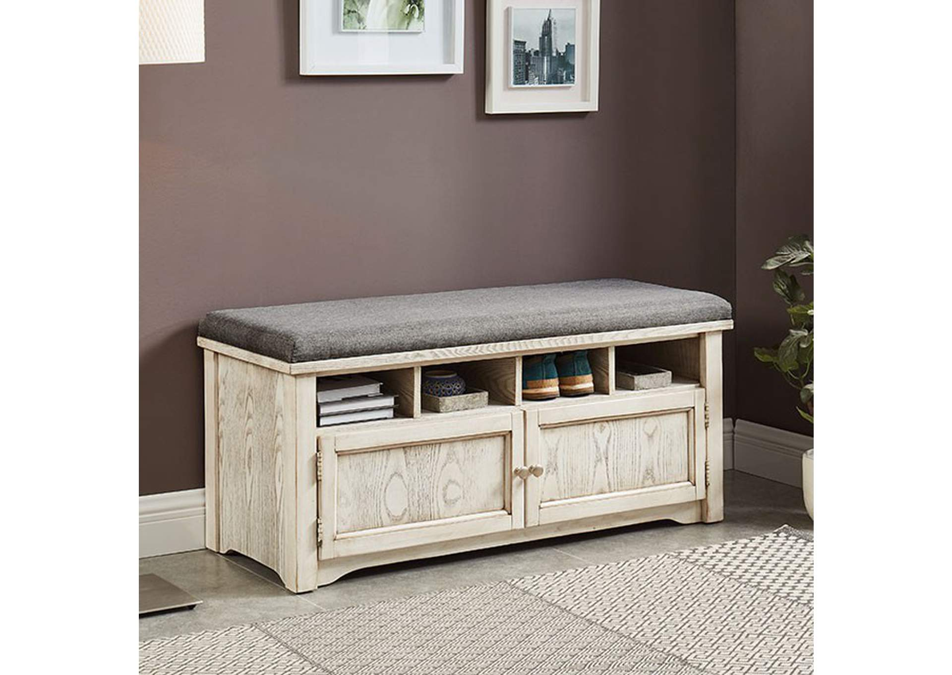 Gwebdolyn Weather White Shoe Bench,Furniture of America
