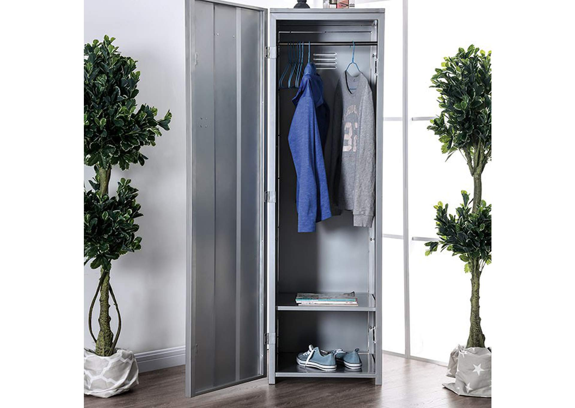 Zaheera Silver Full Metal Locker w/Shelves & Coat Hooks,Furniture of America