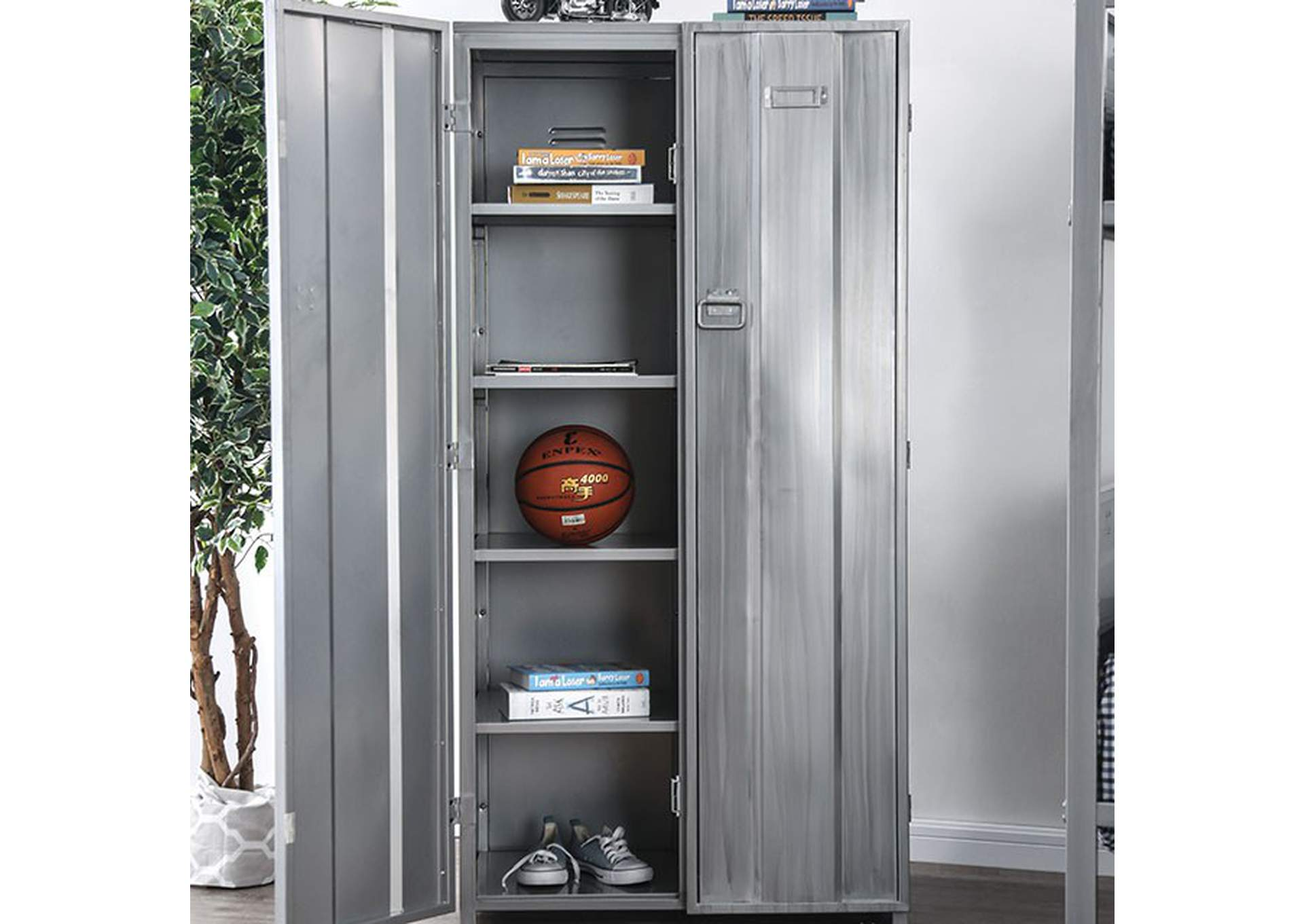 Zaheera Silver Full Metal 5 Shelf Locker,Furniture of America