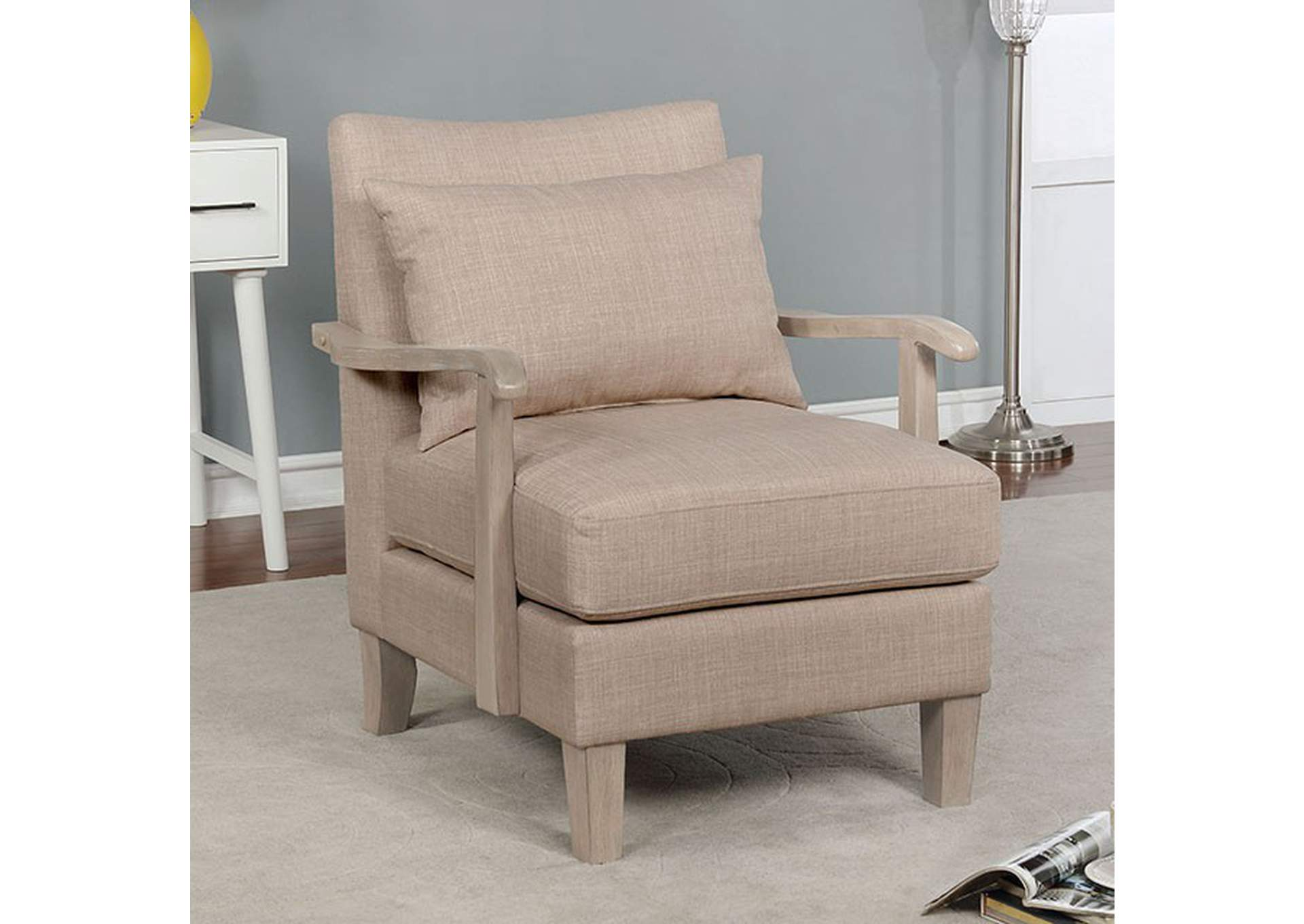 Adrienne Beige Accent Chair,Furniture of America