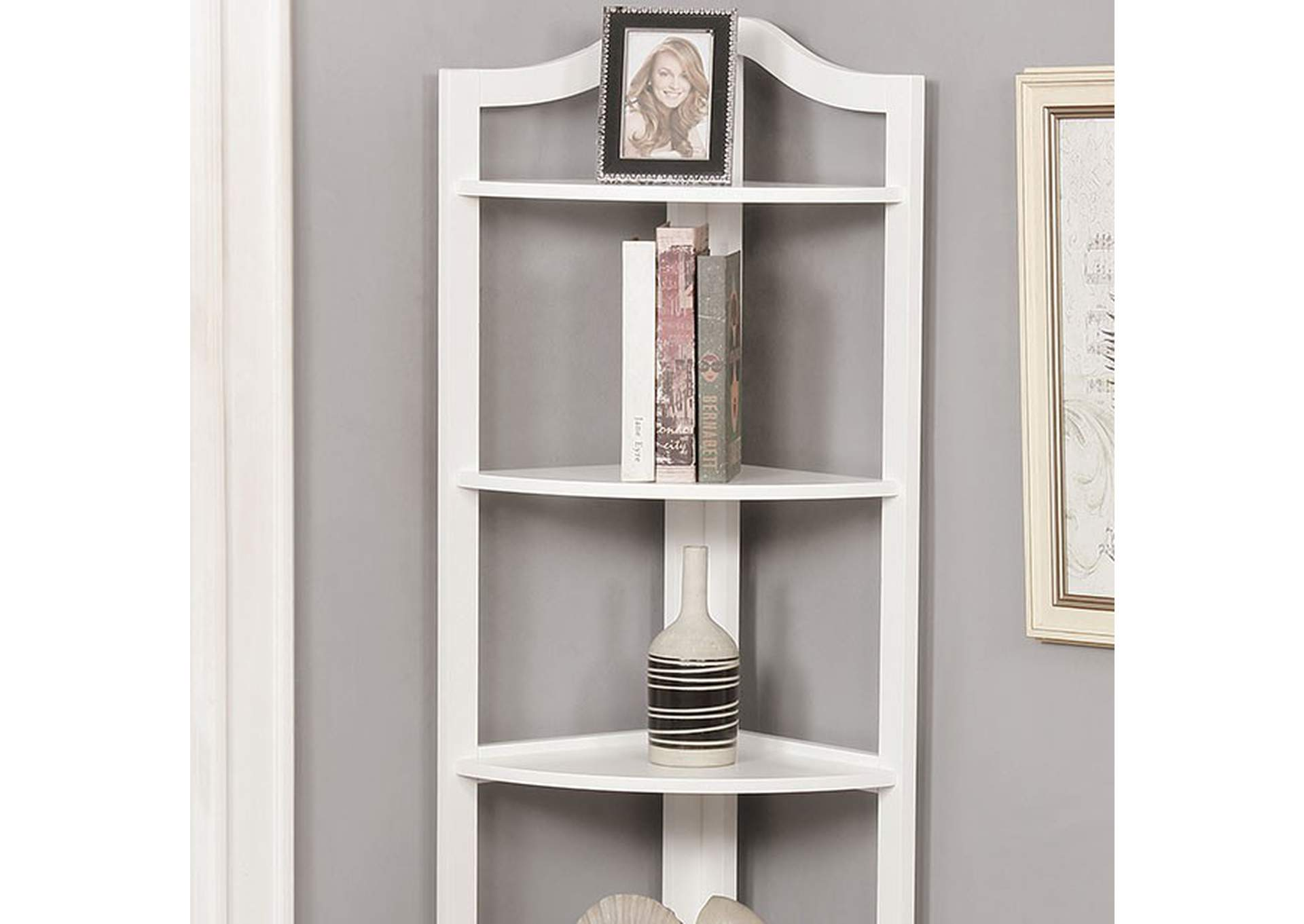Alyssa White 5-Tier Ladder Shelf,Furniture of America