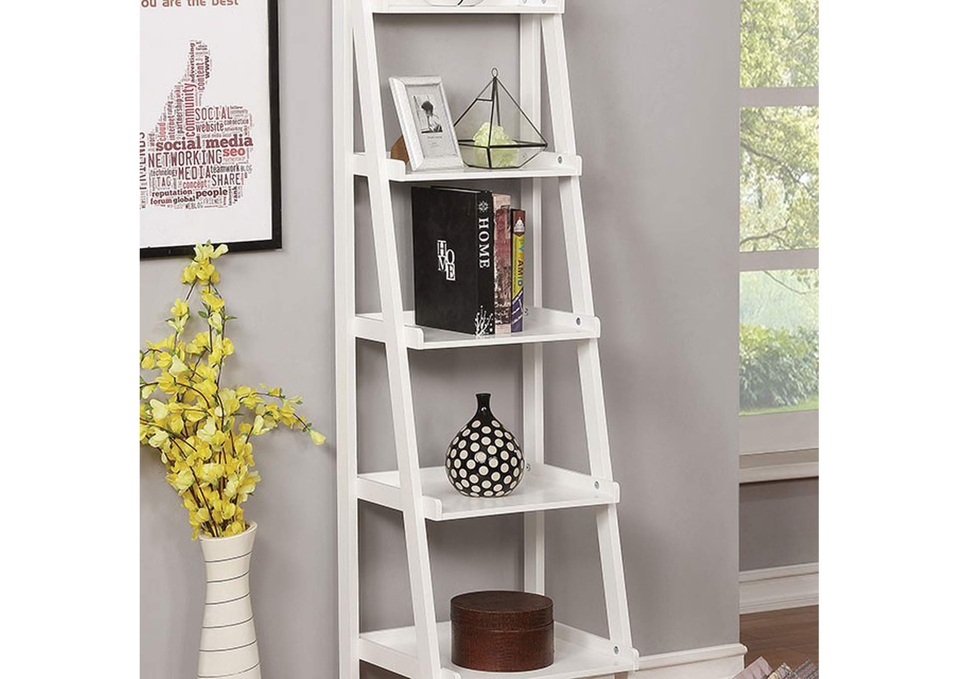 Theron White 5-Tier Ladder Shelf,Furniture of America
