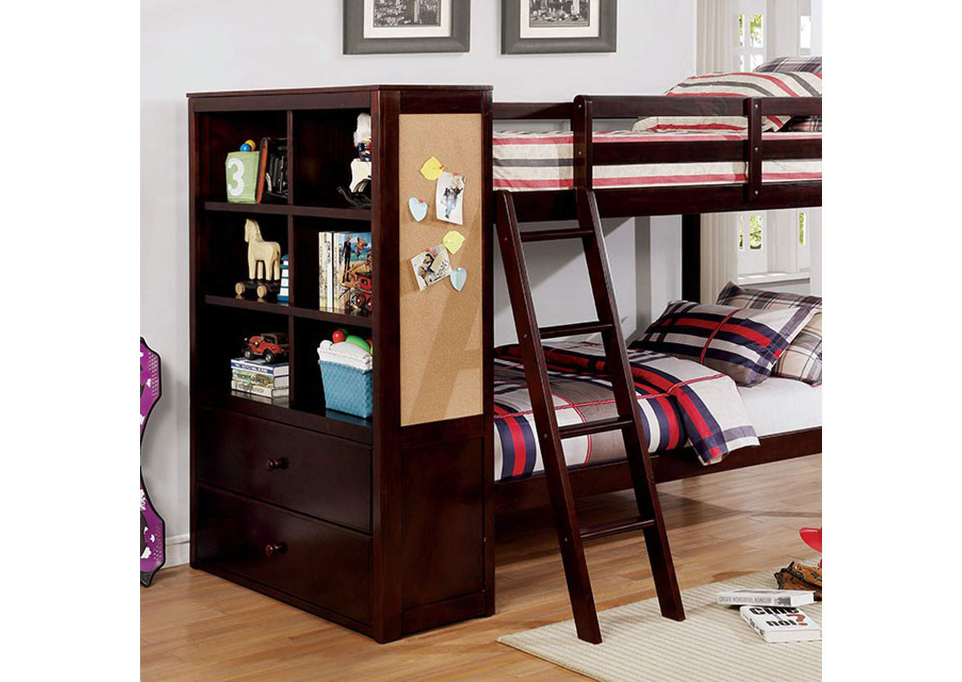 Athena Dark Walnut Twin/Twin Bunk Bed,Furniture of America