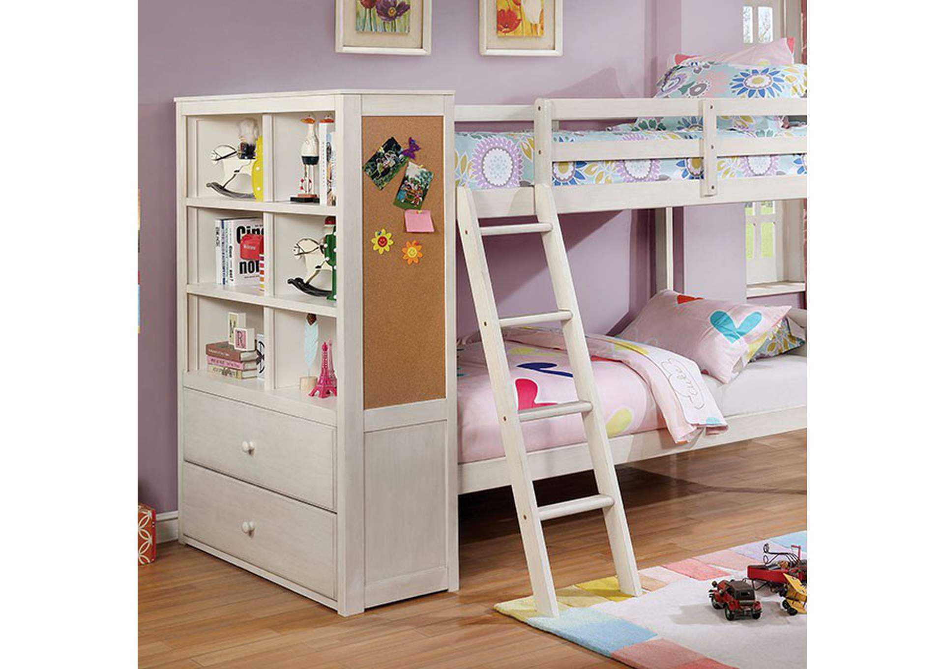 Athena White Twin/Twin Bunk Bed,Furniture of America