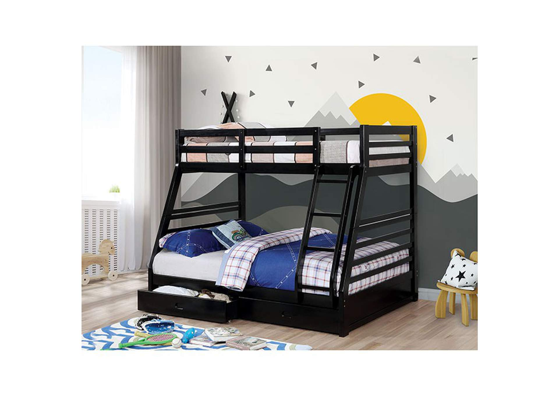 California Black Twin/Full Bunk Bed,Furniture of America
