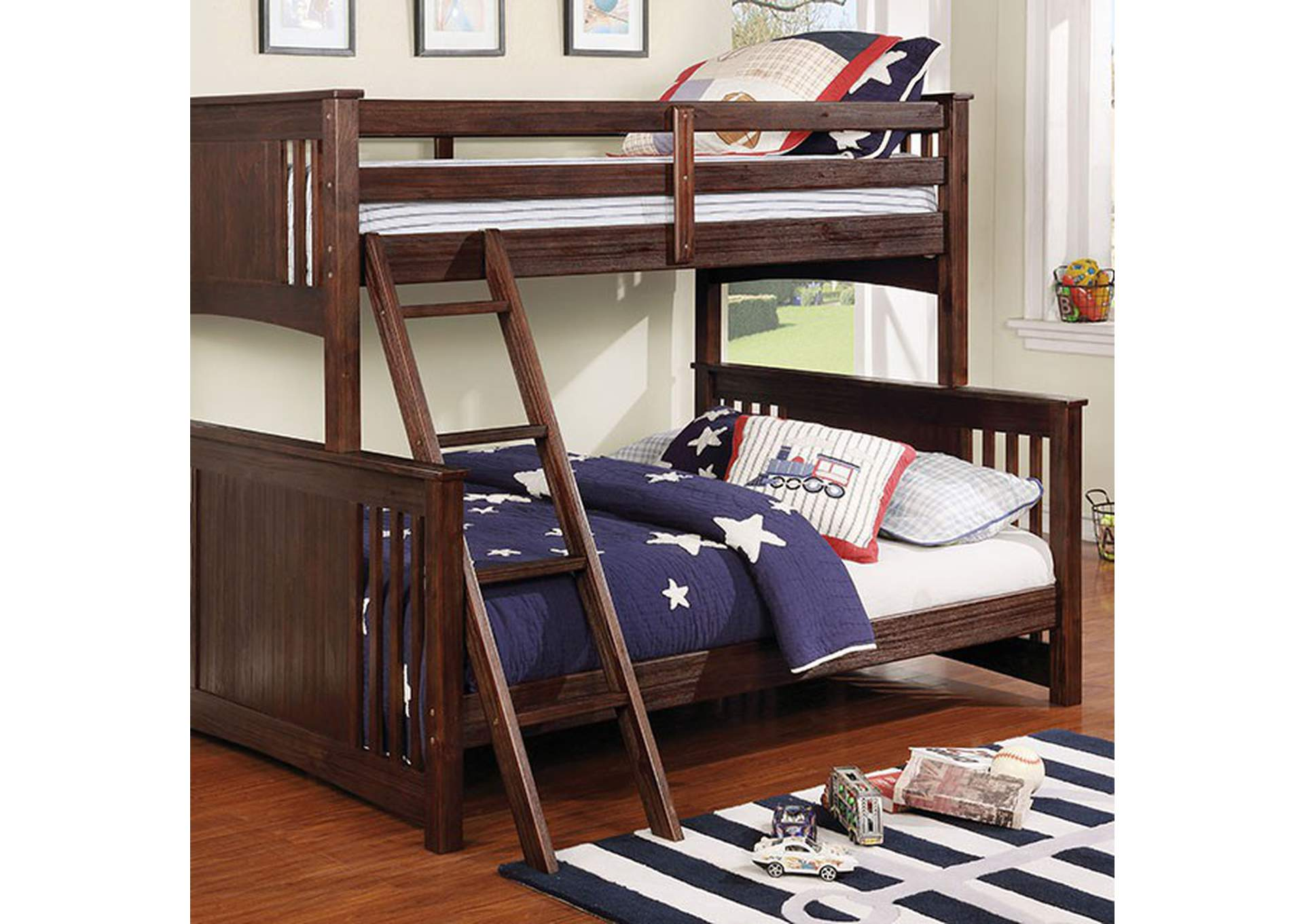 Spring Creek Wire-Brushed Dark Walnut Twin/Full Bunk Bed,Furniture of America