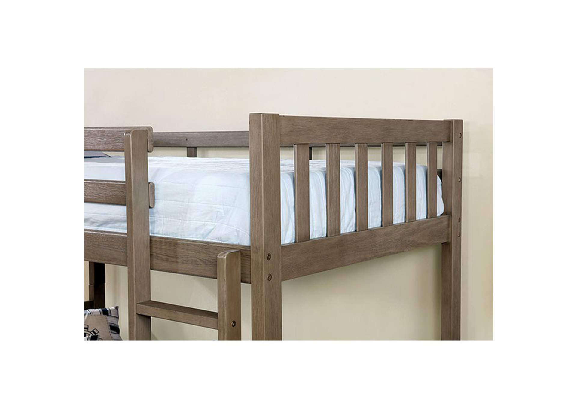 Emilie Wire-Brushed Warm Gray Twin/Twin Bunk Bed,Furniture of America