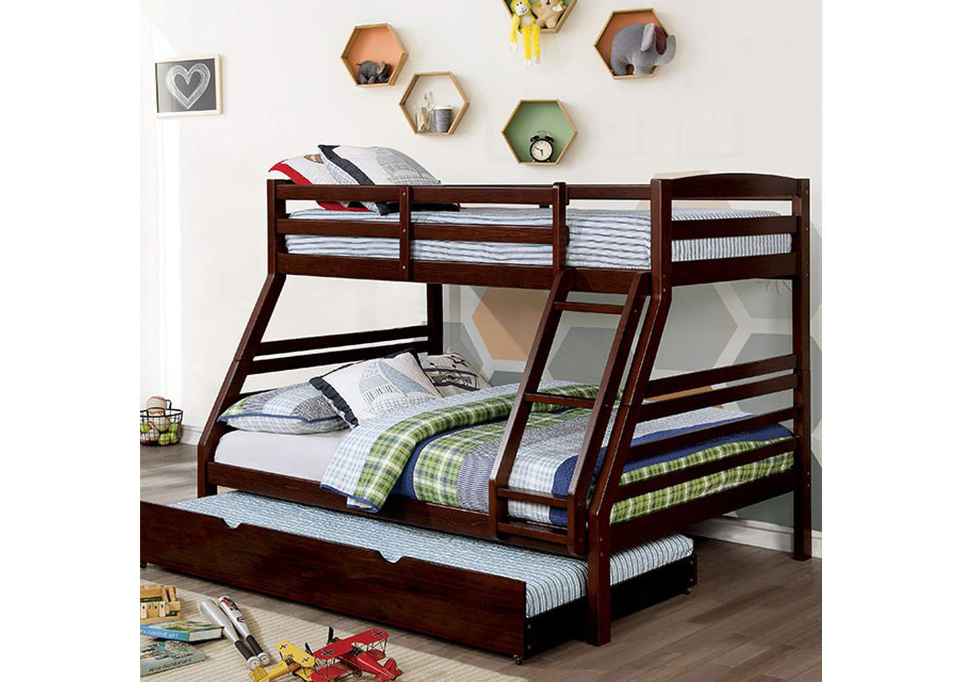Elaine Dark Walnut Twin/Full Bunk Bed,Furniture of America