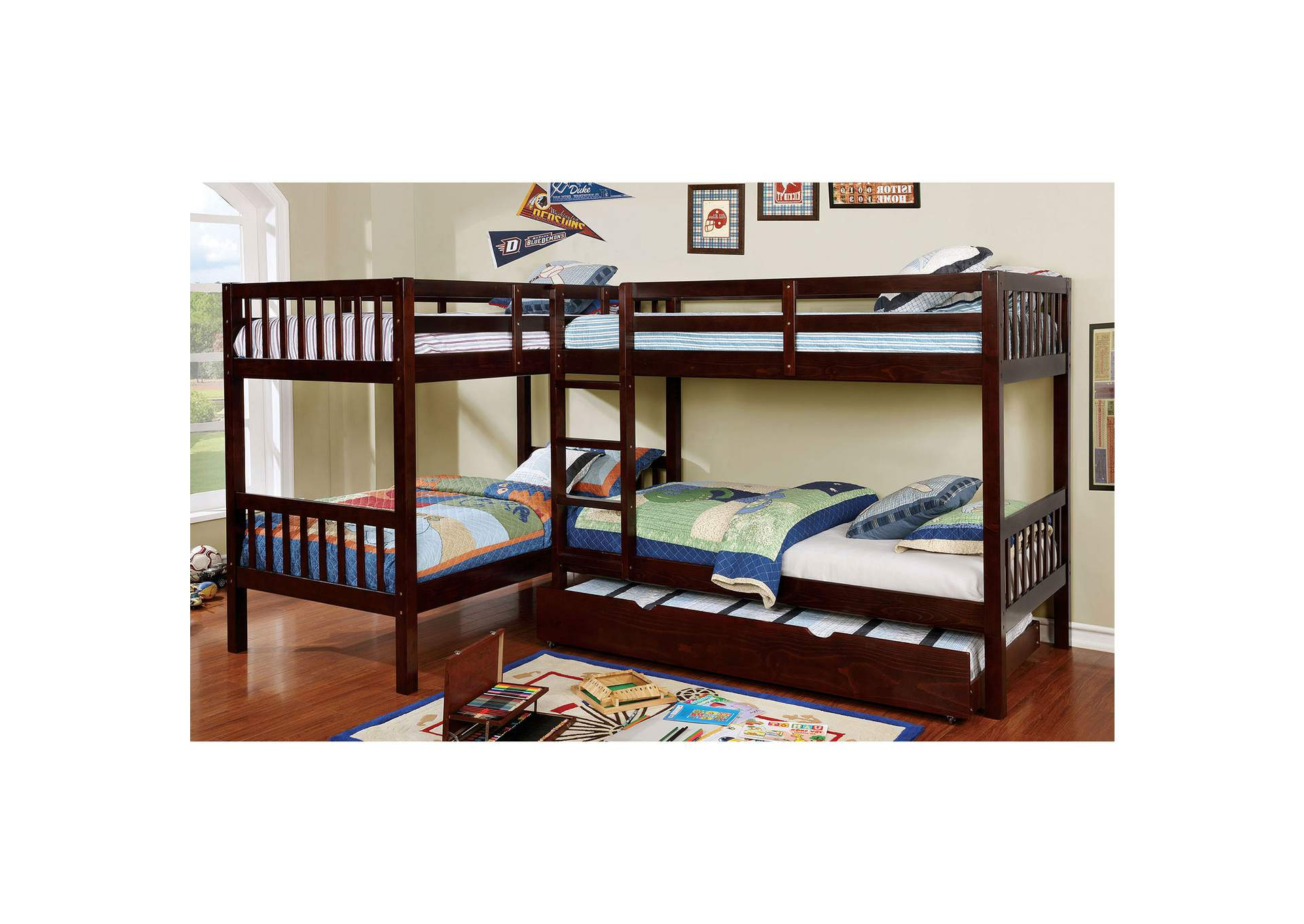 Marqutte Dark Walnut L-Shaped Quadruple Twin Bunk Bed,Furniture of America