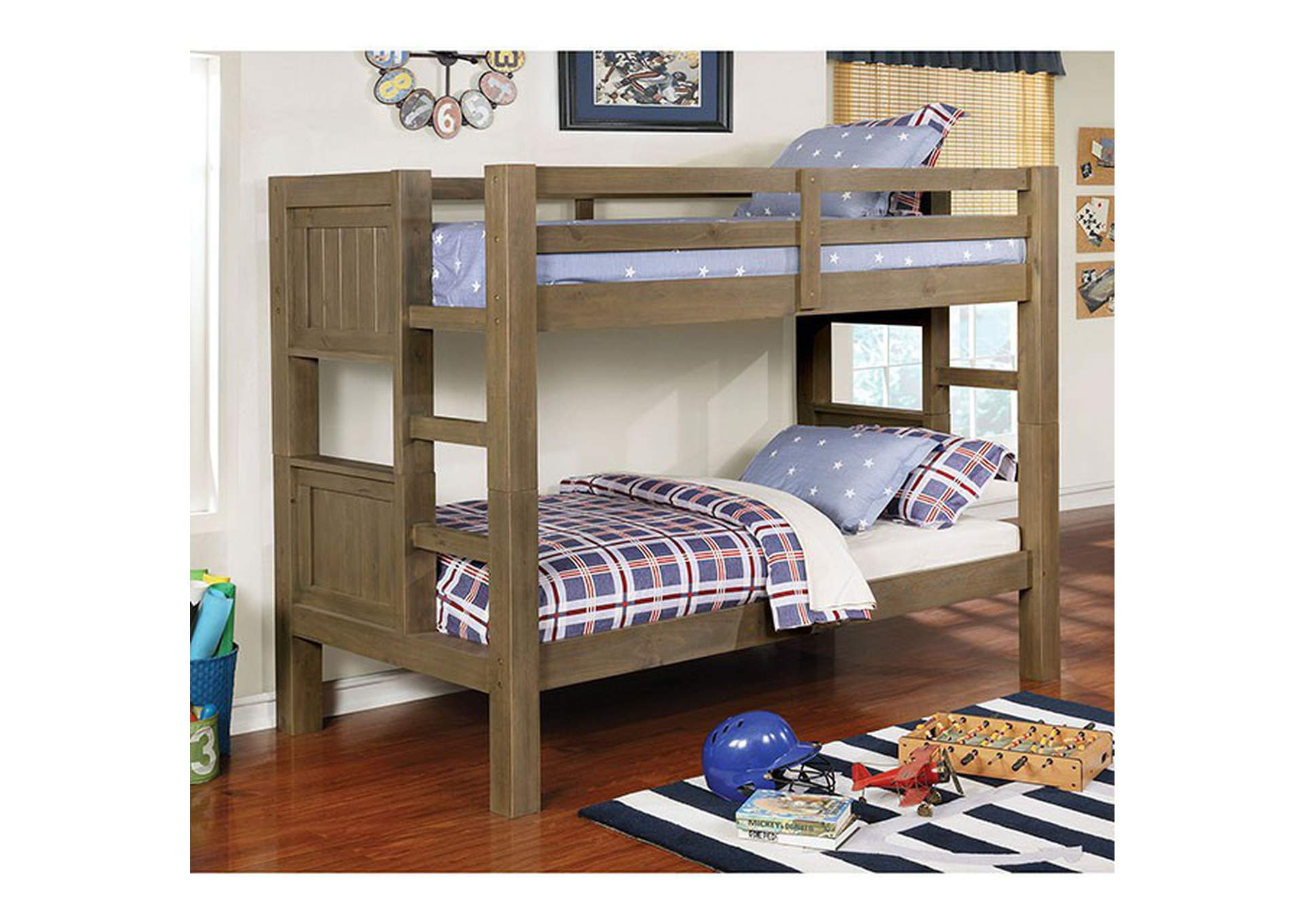 Kindred Wire-Brushed Gray Twin/Twin Bunk Bed,Furniture of America