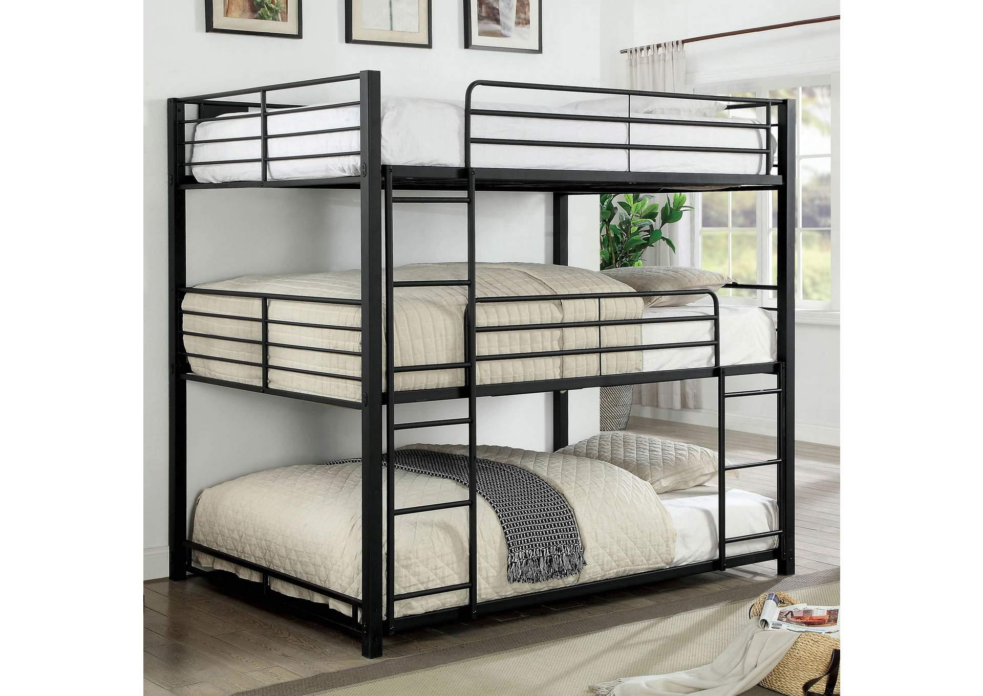 Olga Sand Black Full Triple Decker Bunk Bed,Furniture of America