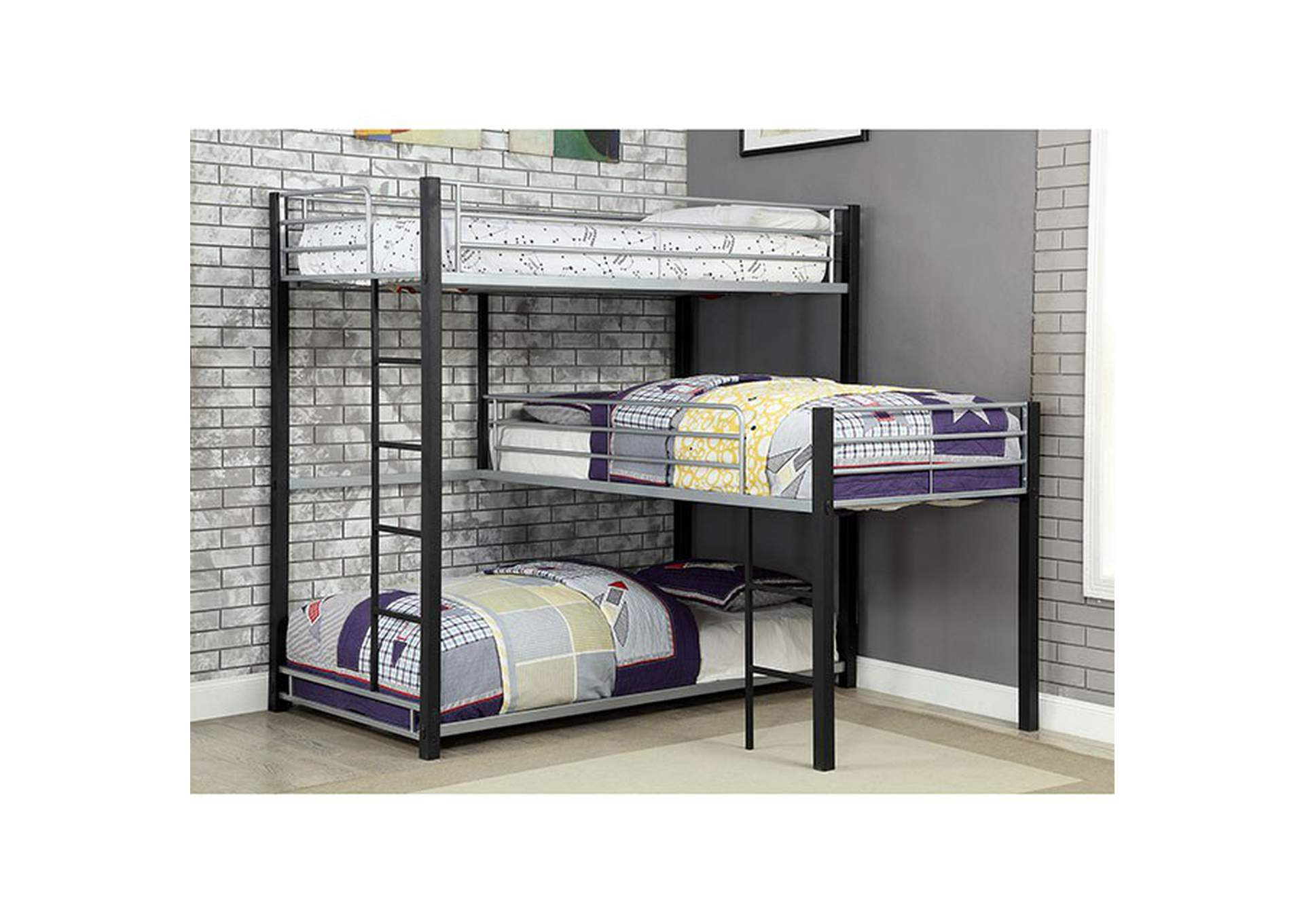 Aubrey Sand Black Twin Triple Decker Bunk Bed,Furniture of America