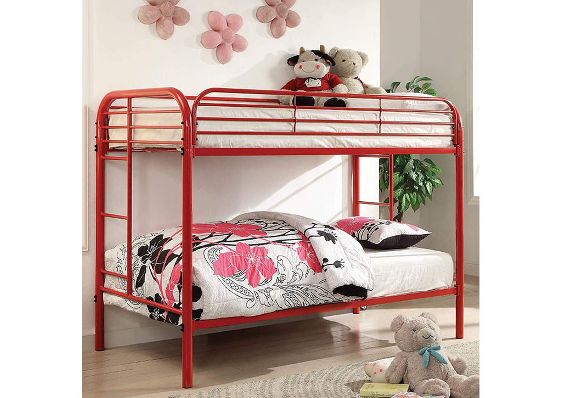 Opal Red Twin/Twin Metal Bunk Bed,Furniture of America