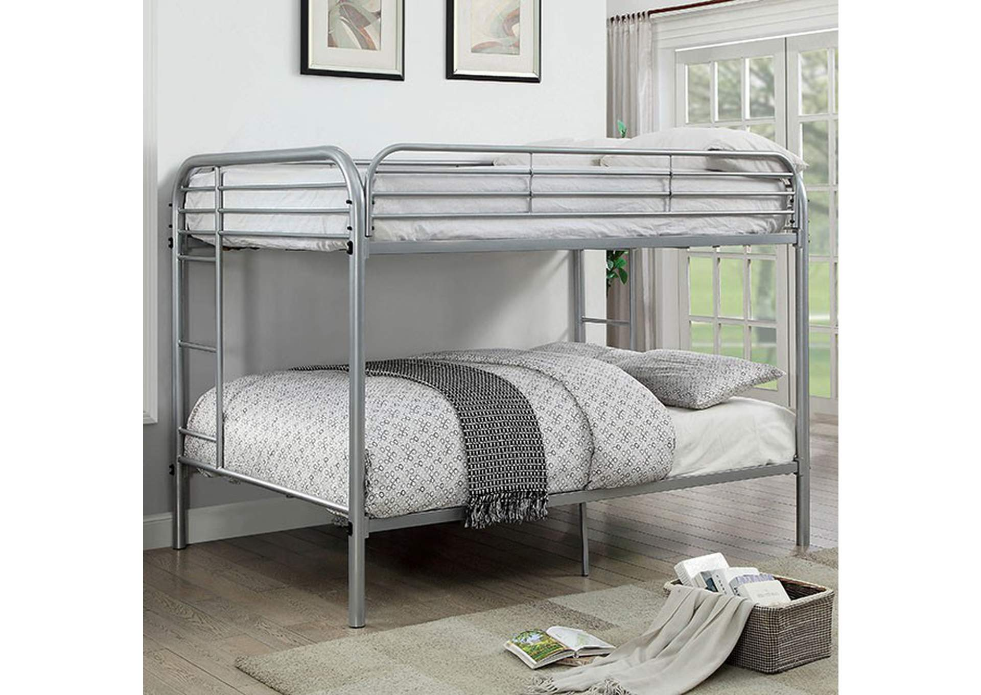 Opal Silver Full/Full Bunk Bed,Furniture of America