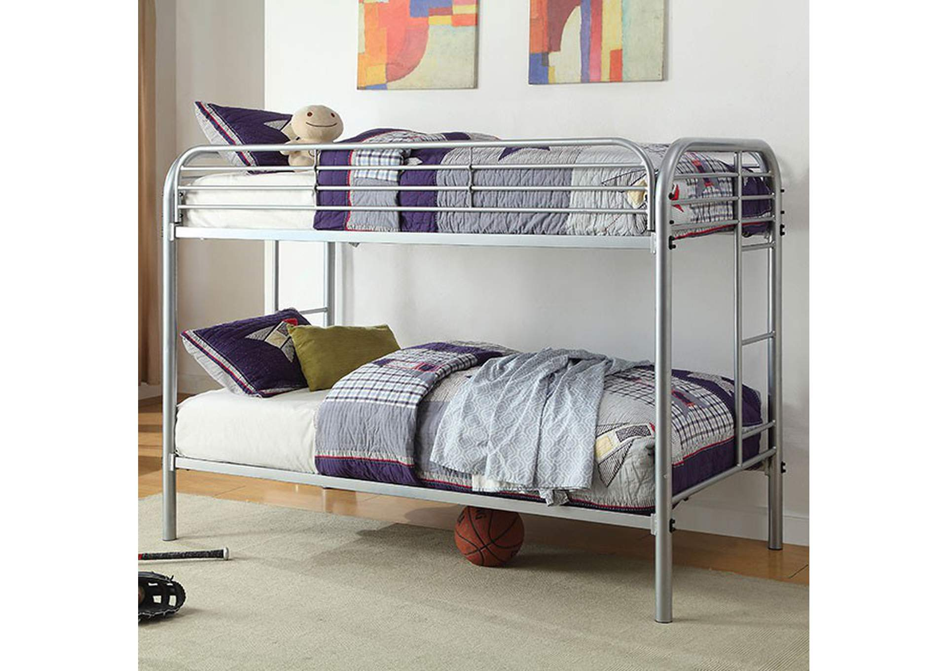 Opal Silver Twin/Twin Bunk Bed,Furniture of America