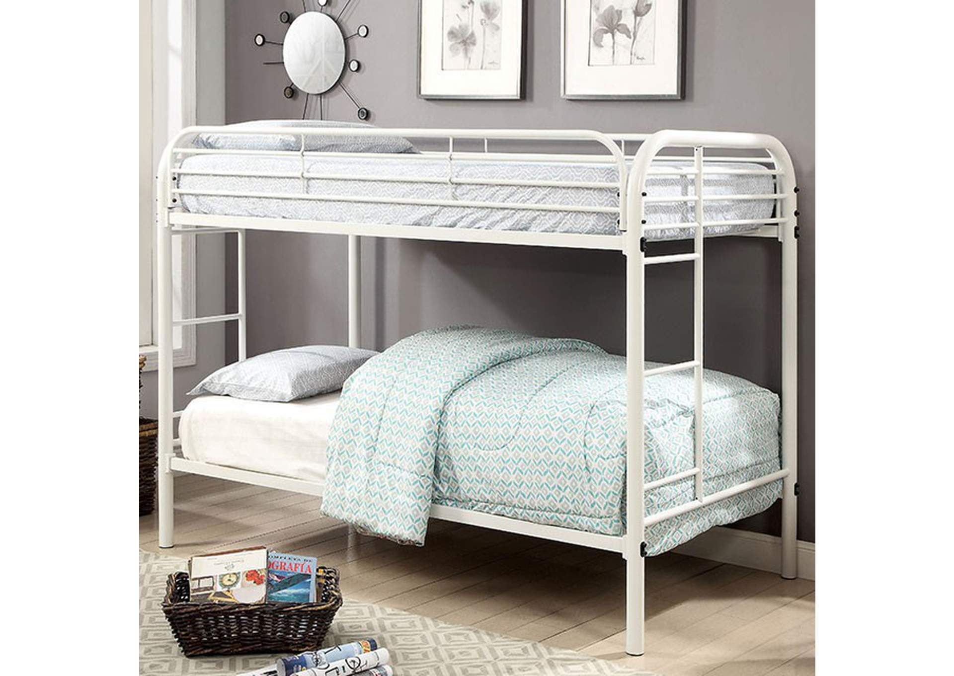Opal White Twin/Twin Metal Bunk Bed,Furniture of America
