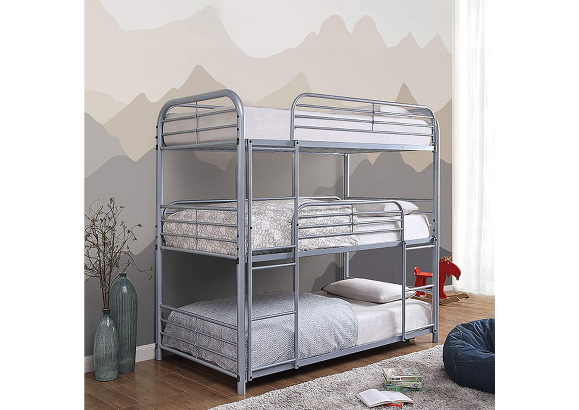 Opal Silver Twin/Twin/Twin Bunk Bed,Furniture of America