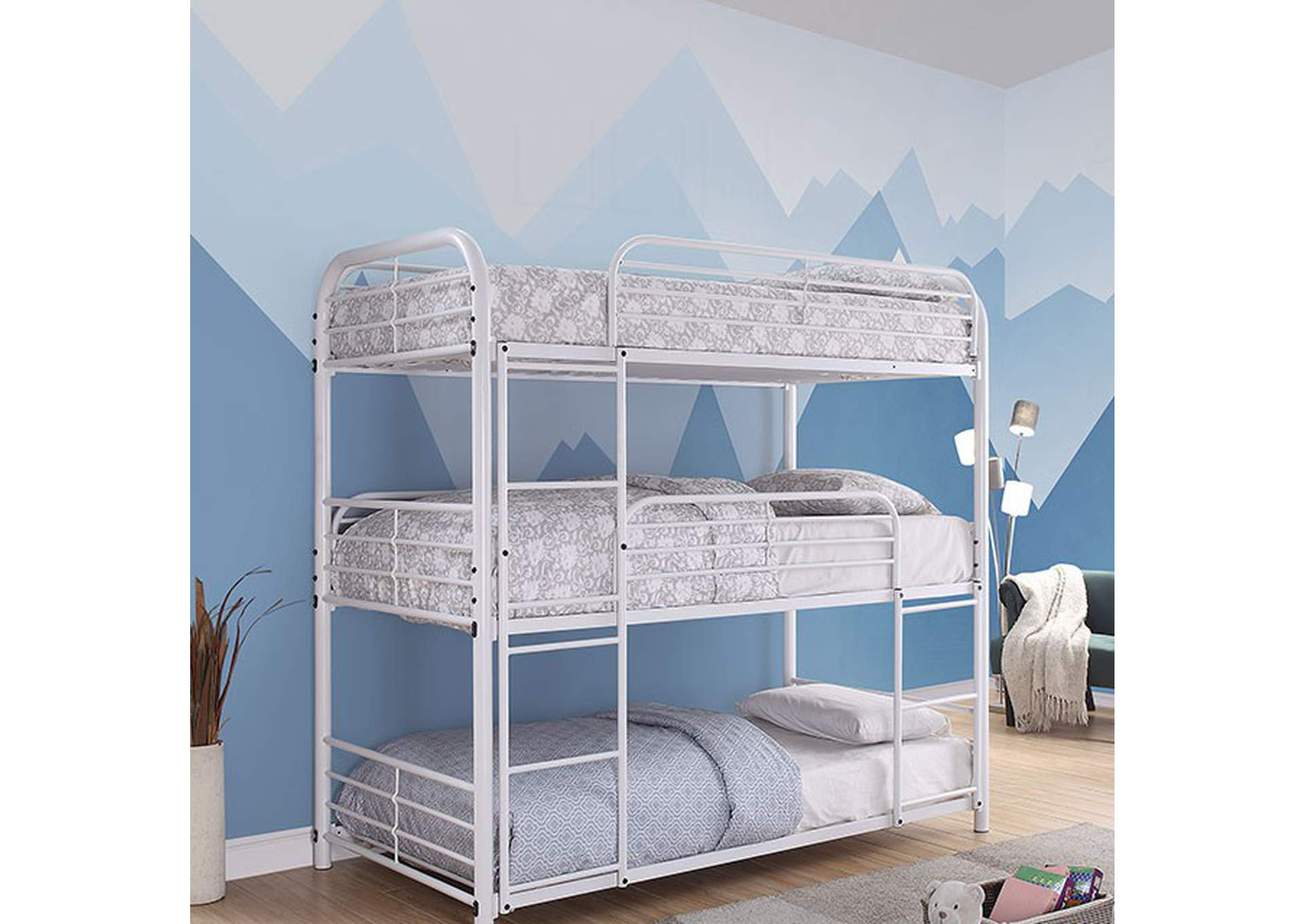Opal White Twin/Twin/Twin Bunk Bed,Furniture of America