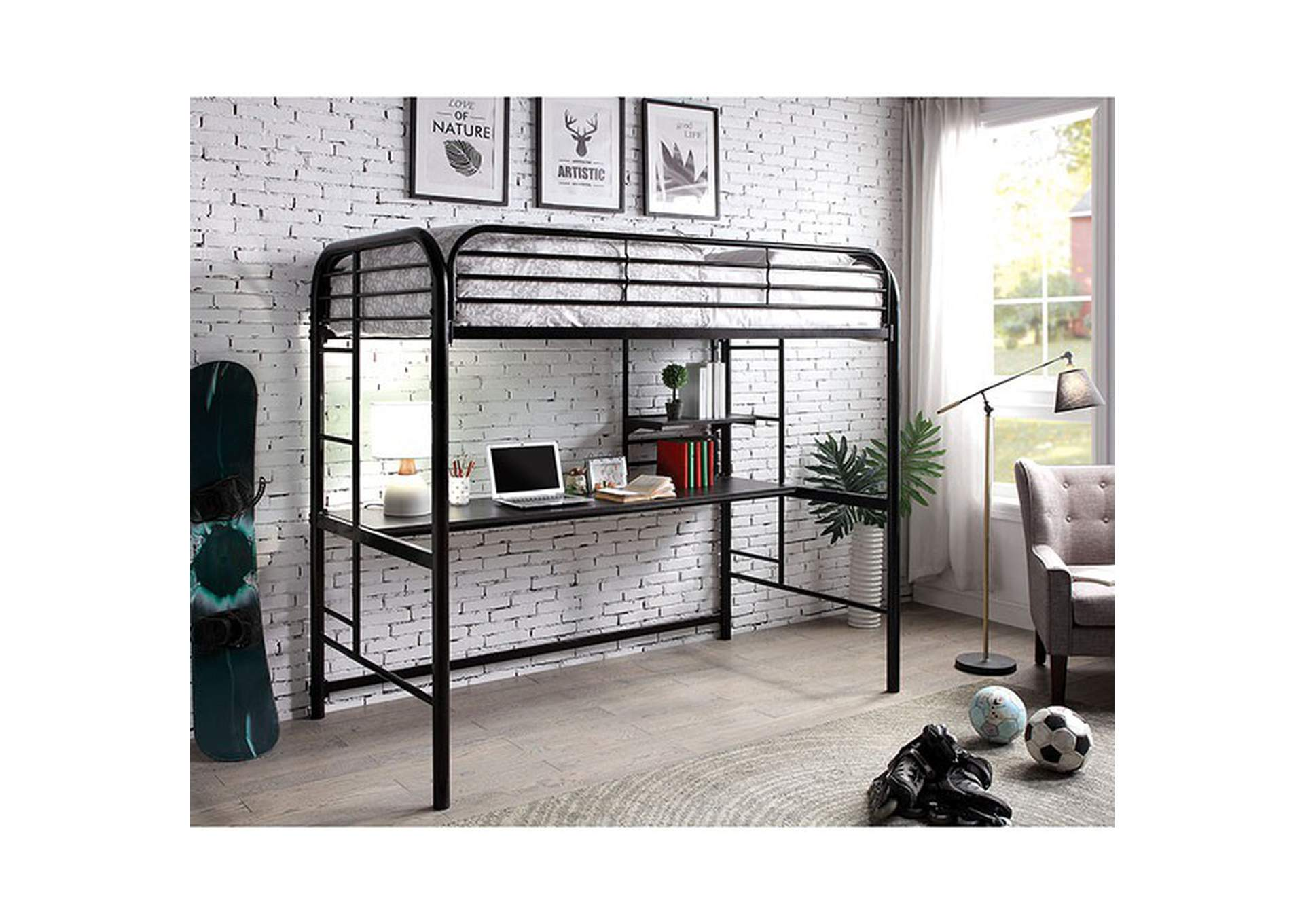 Opal II Black Twin/Twin/Twin 3-Tiered Bunk Bed,Furniture of America