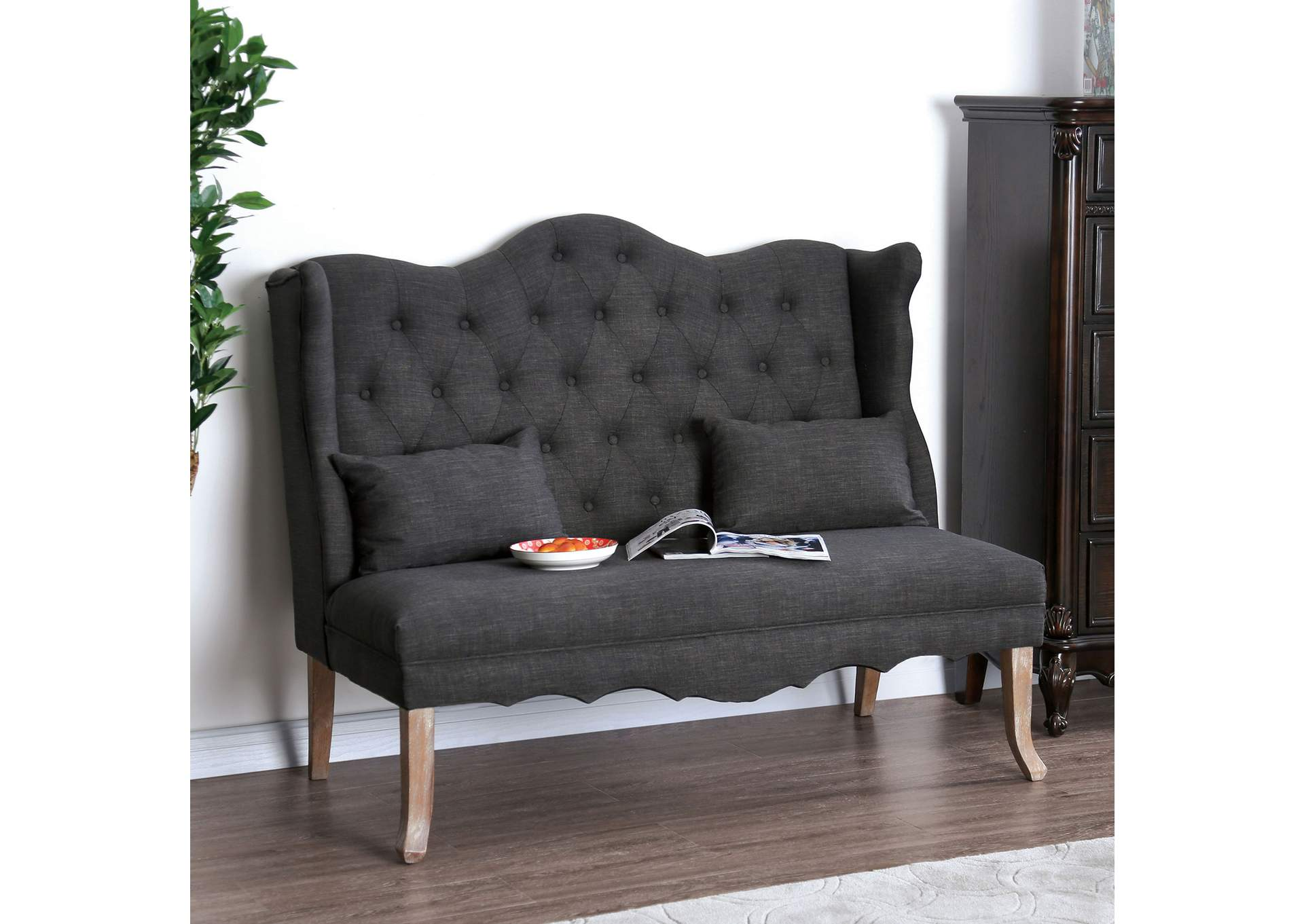 Donnelly Gray Linen Loveseat w/Pillows,Furniture of America
